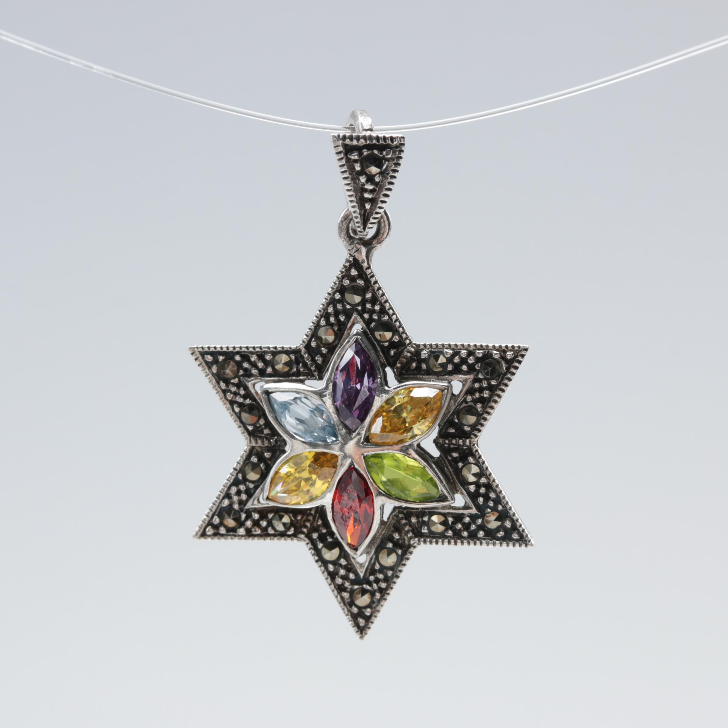 Sterling Silver Cubic Zirconia and Marcasite Star of David Pendant