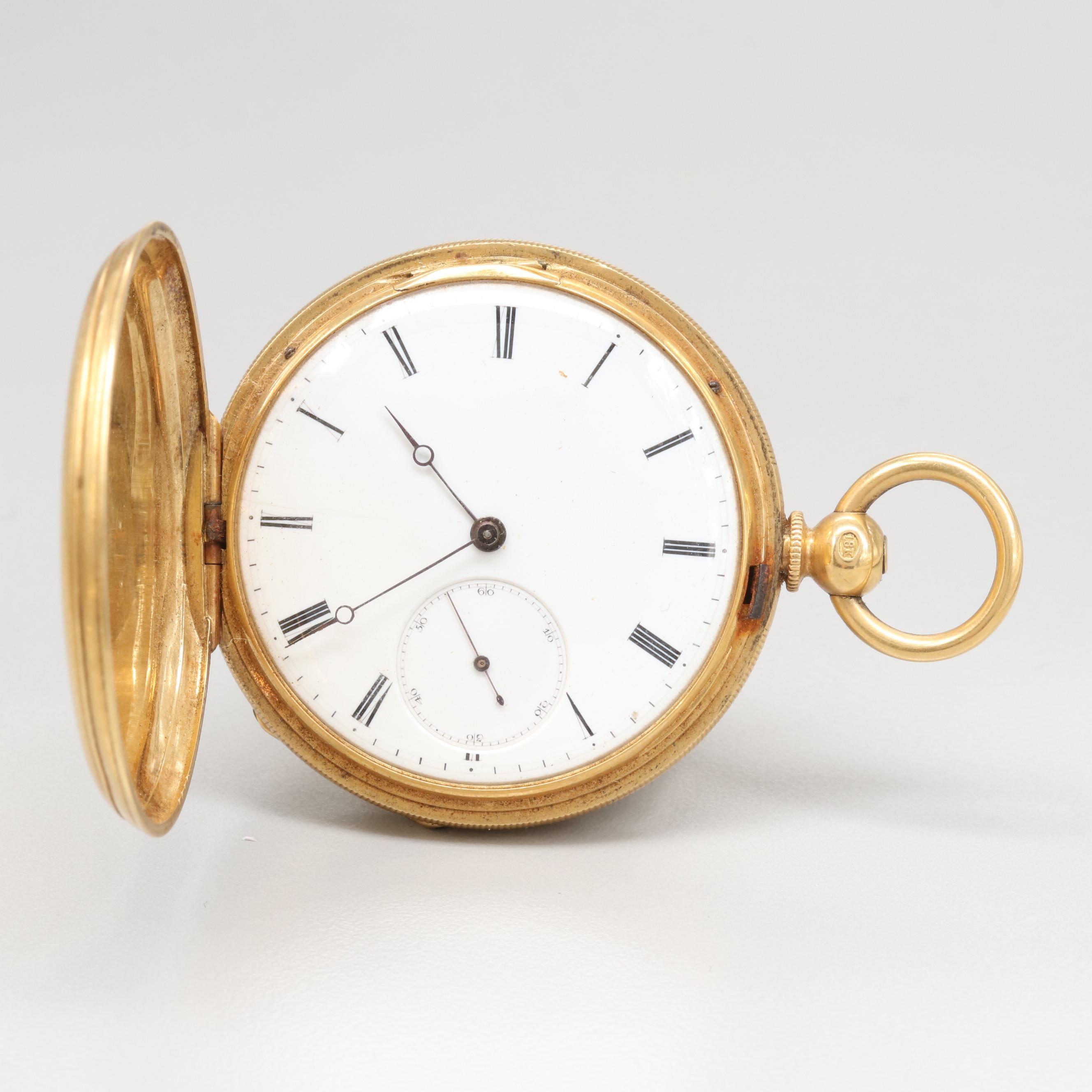 18K Yellow Gold Hunting Case Key Wind and Set Pocket Watch Circa 1905