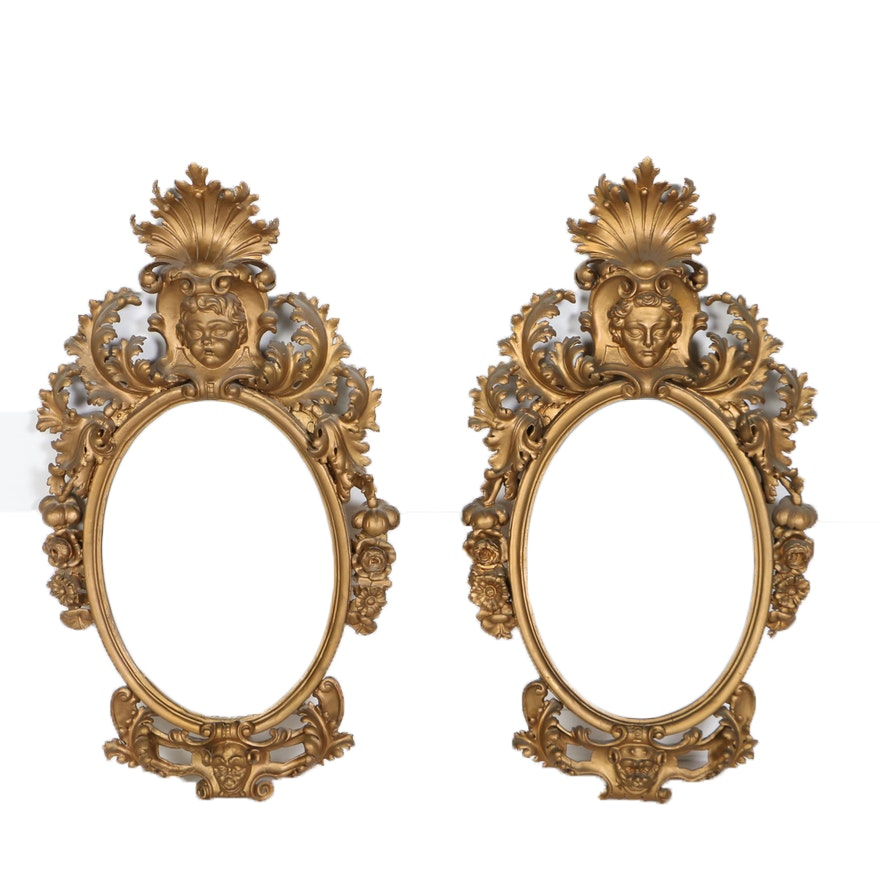 Two Victorian Gilt Composition Oval Mirrors, Late 19th Century