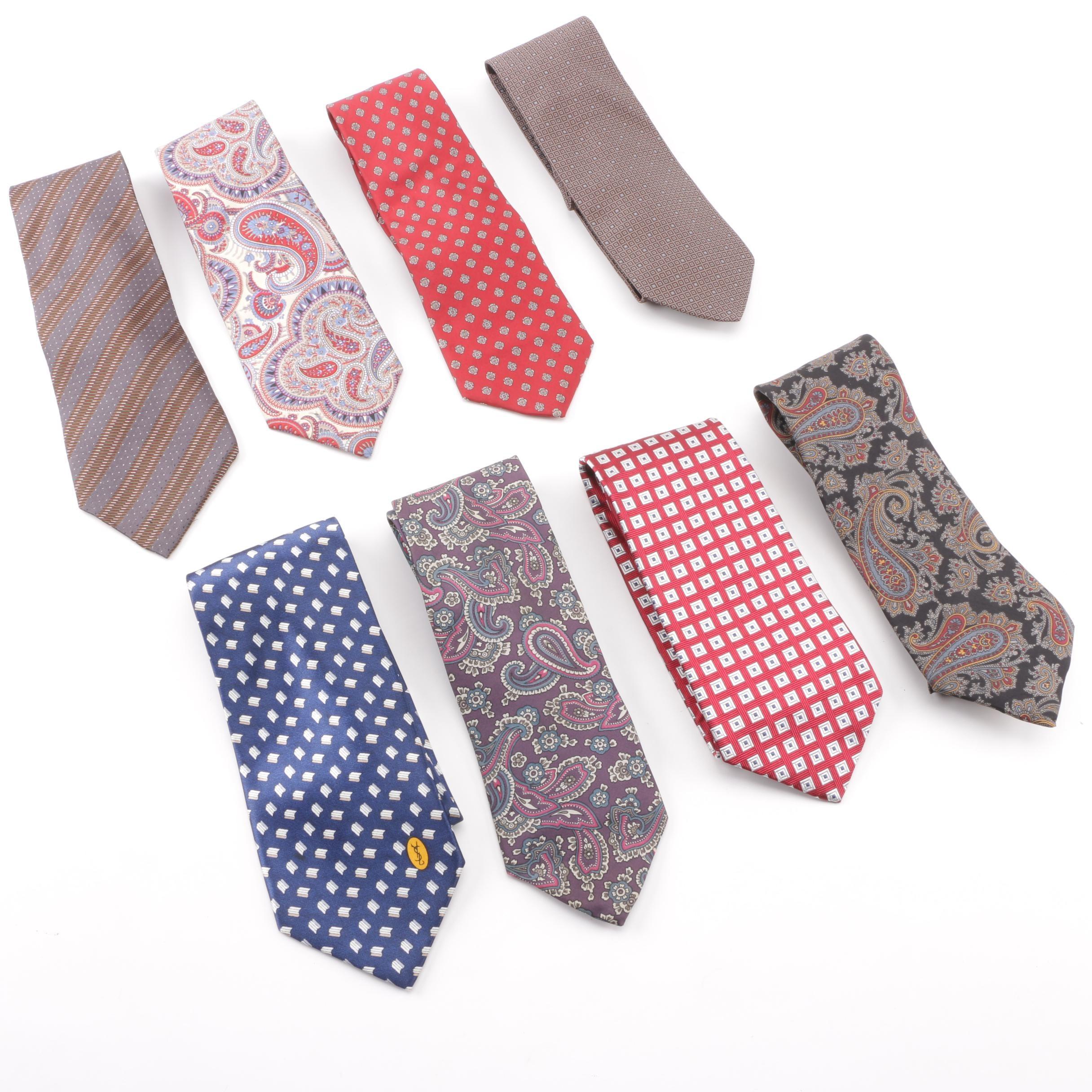Men's Designer Silk Neckties including Giorgio Armani and Brooks Brothers