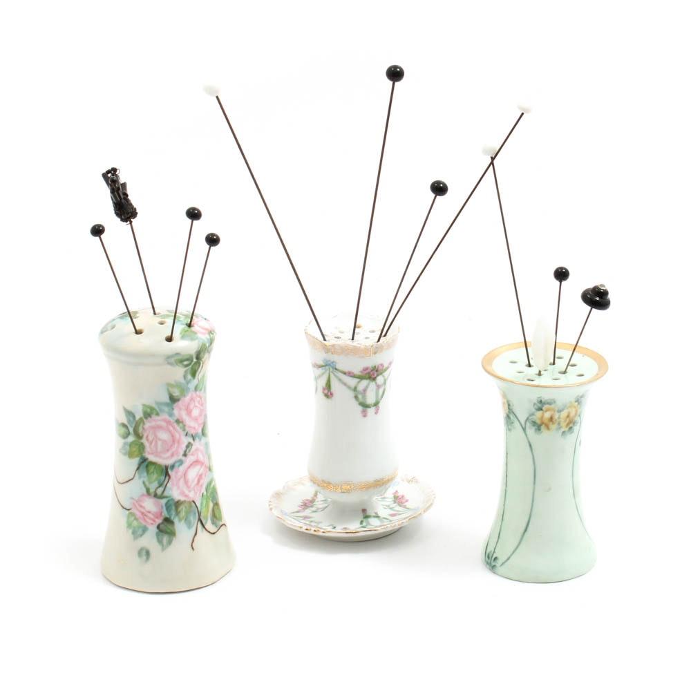 Vintage Hat Pins with Porcelain Holders