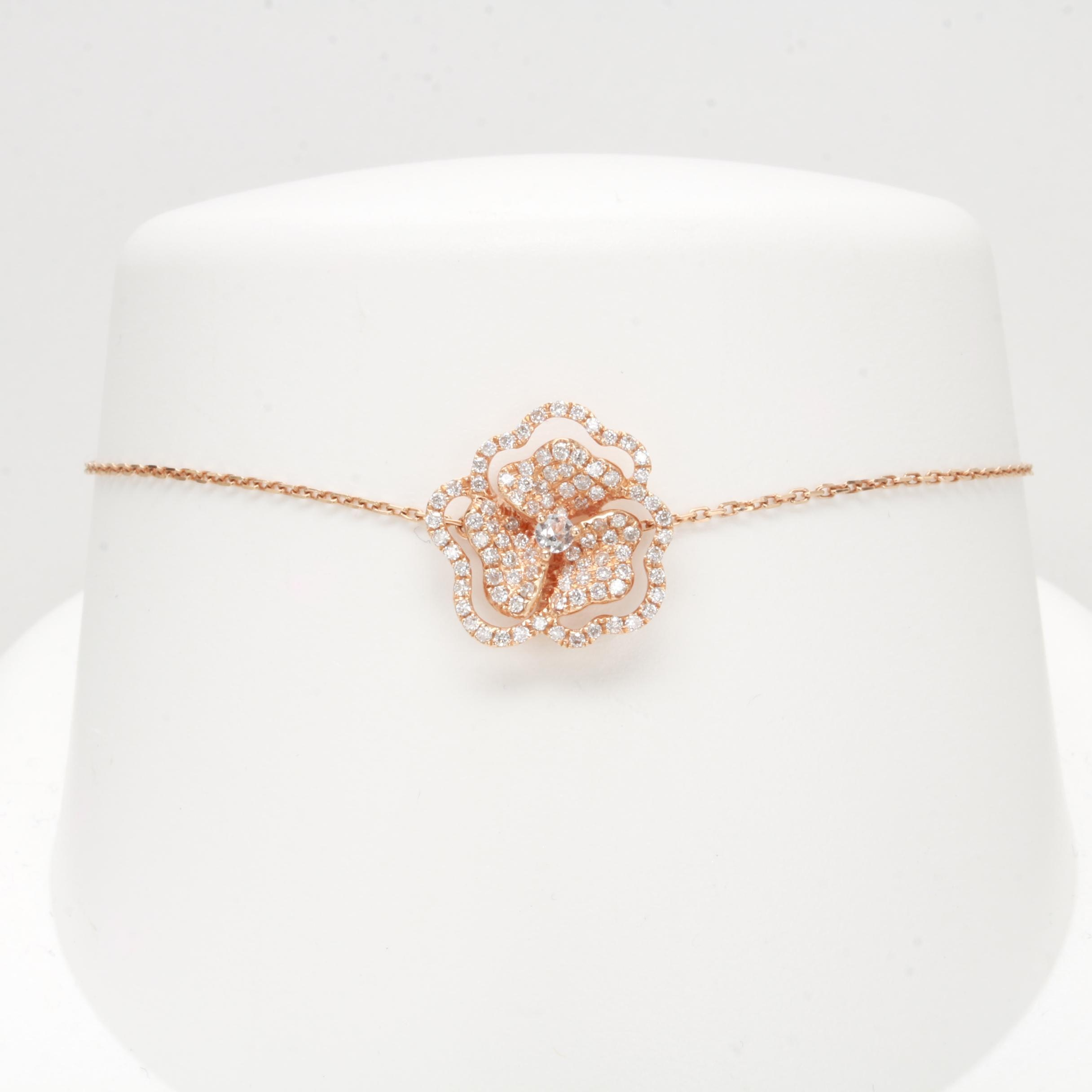 18K Rose Gold Diamond and White Sapphire Bracelet