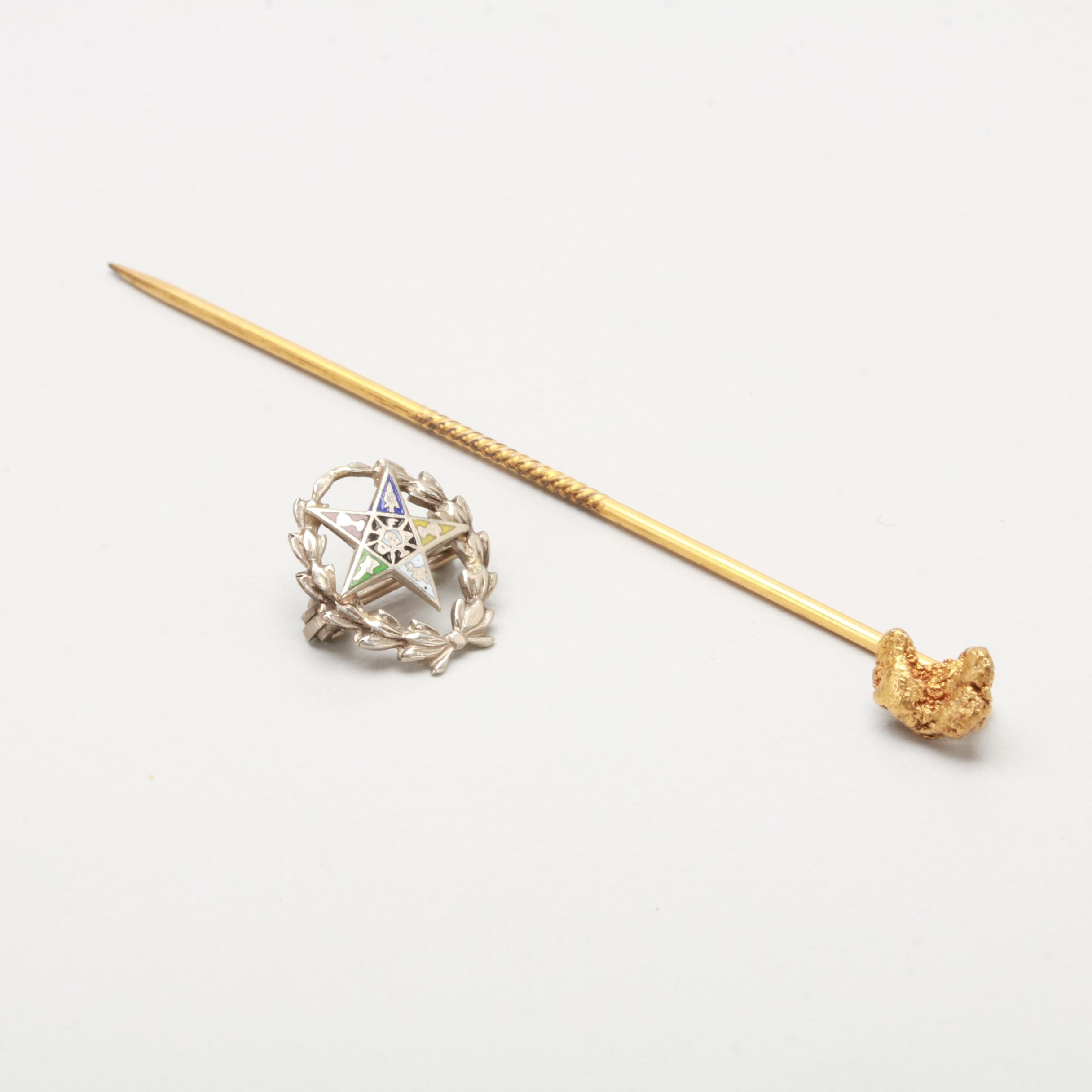 18K Yellow Gold Nugget Stick Pin and 10K White Gold Eastern Star Enamel Pin