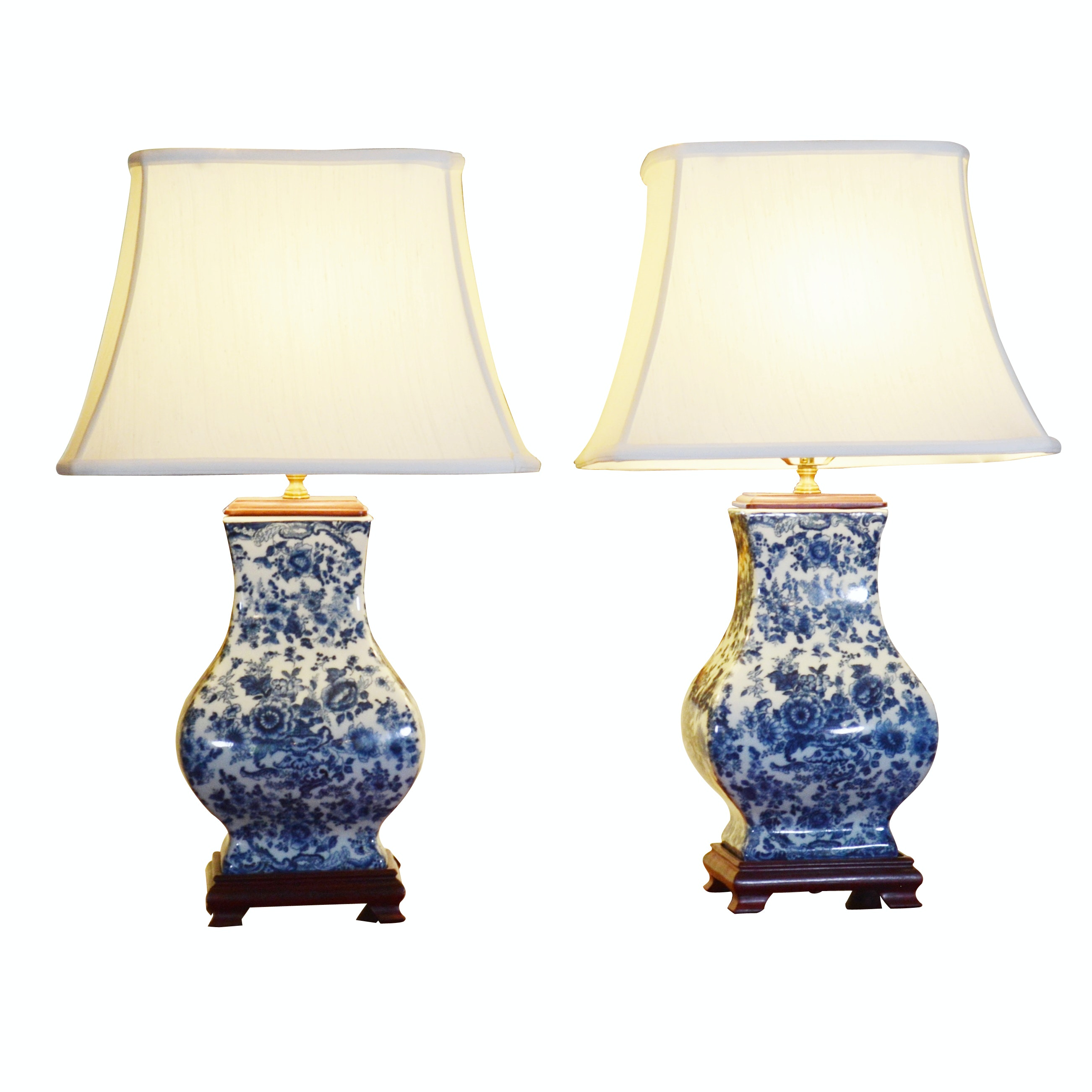 Chinese Blue and White Hu Porcelain Table Lamps