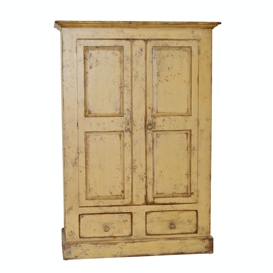 Distressed Painted Wood Cabinet By Habersham Plantation 21st Century
