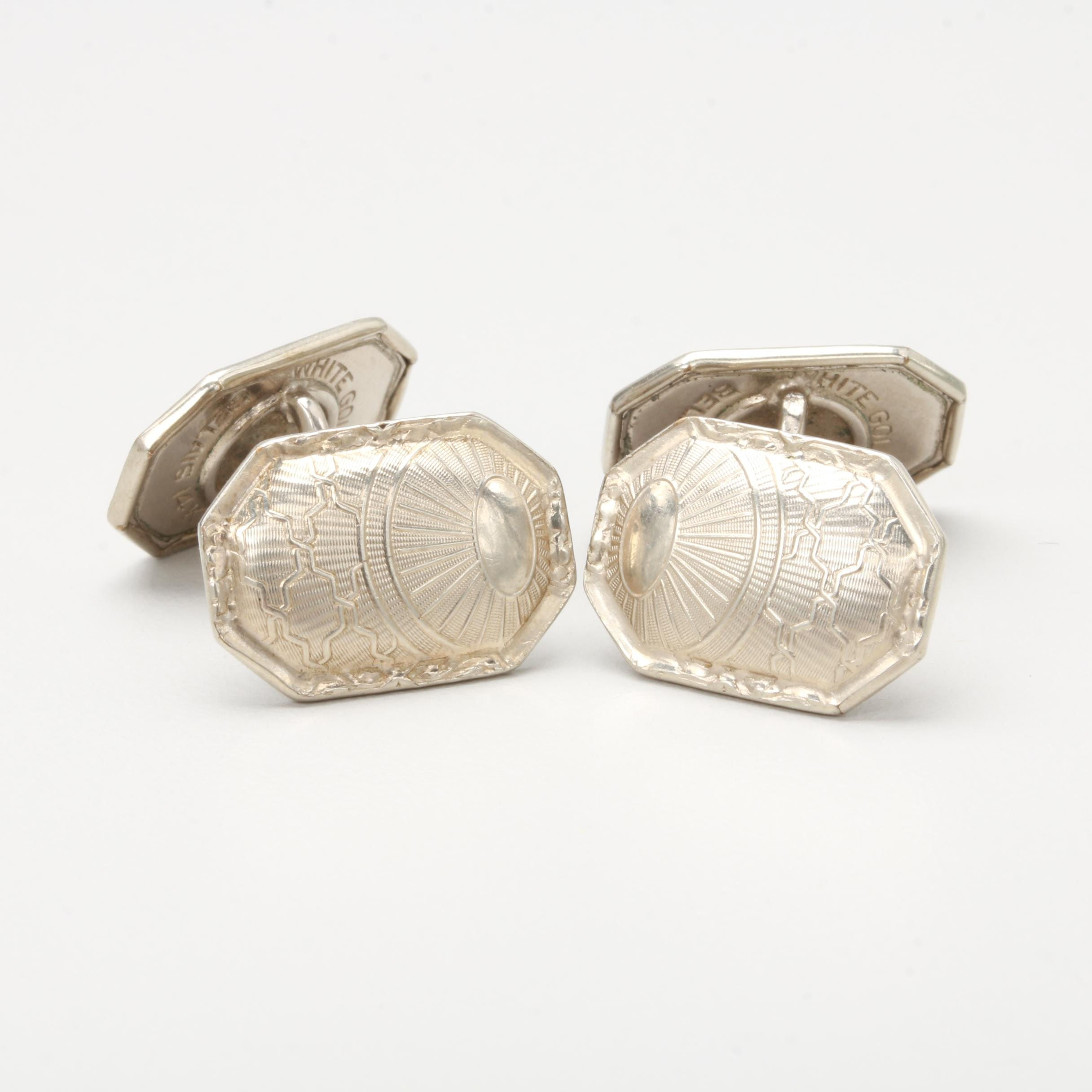 14K White Gold Capped Cufflinks