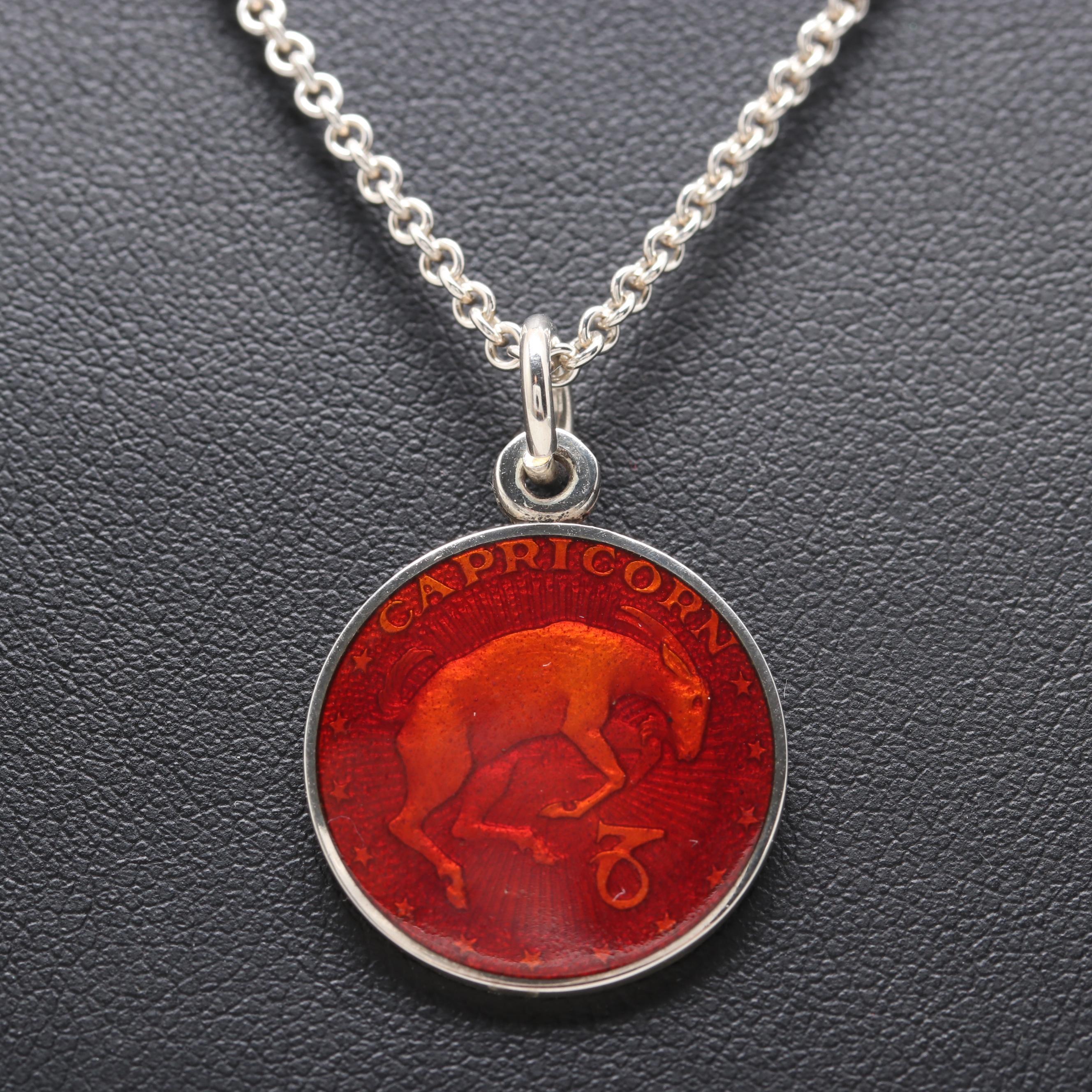 Sterling Silver Enamel Capricorn Zodiac Pendant Necklace