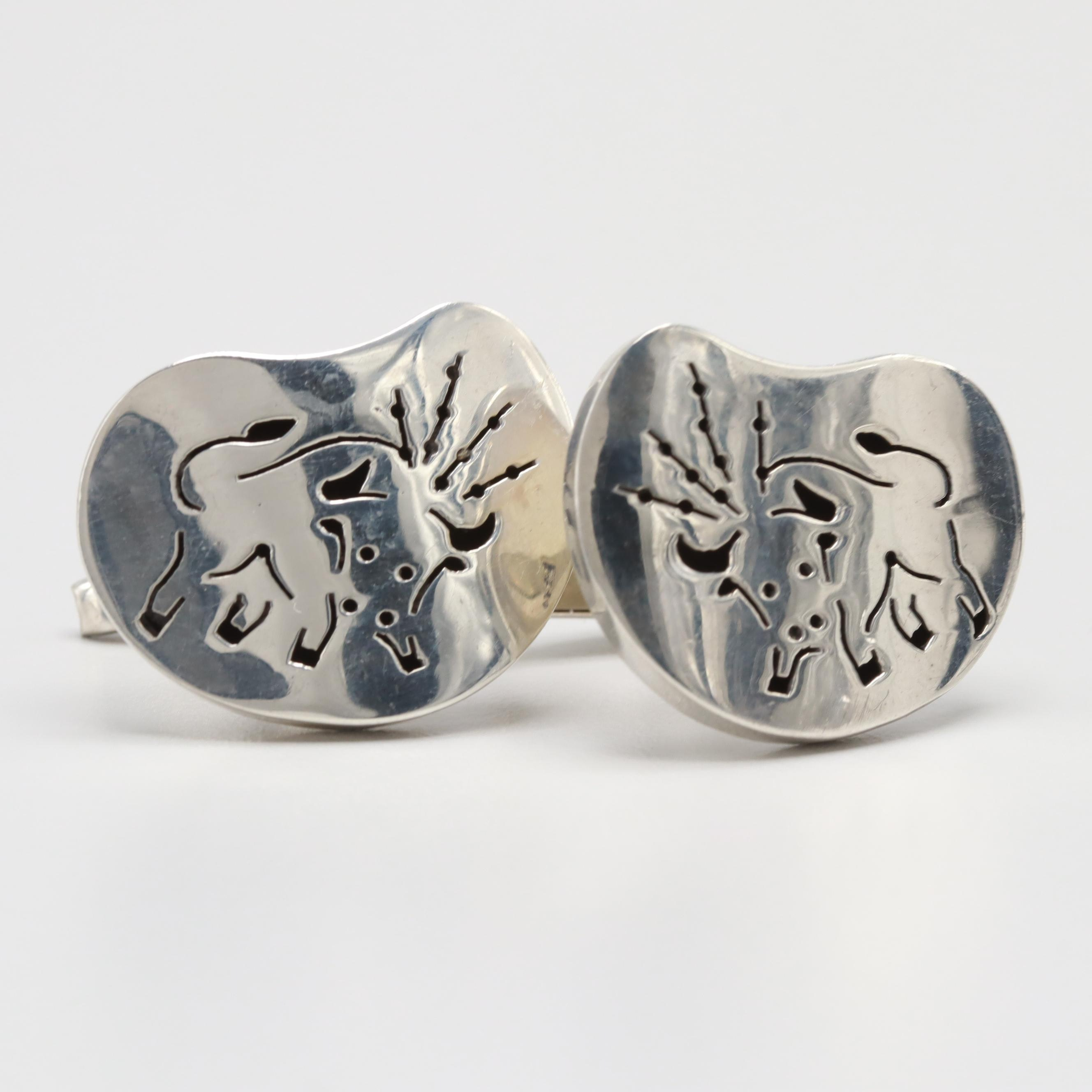 Mexico Sterling Silver Bull Cufflinks
