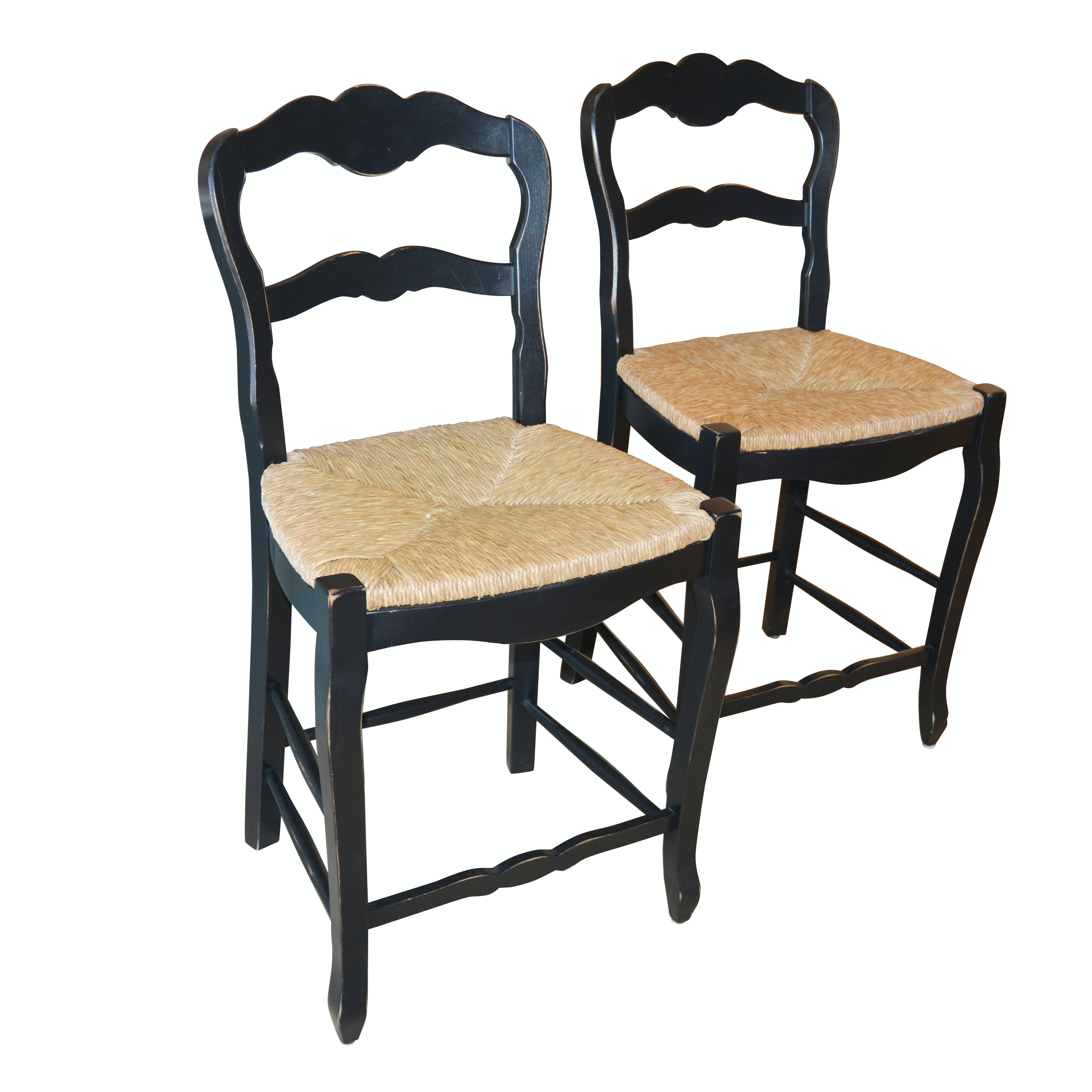 French Provincial Style Slat Back Rush Seat Counter Height Stools