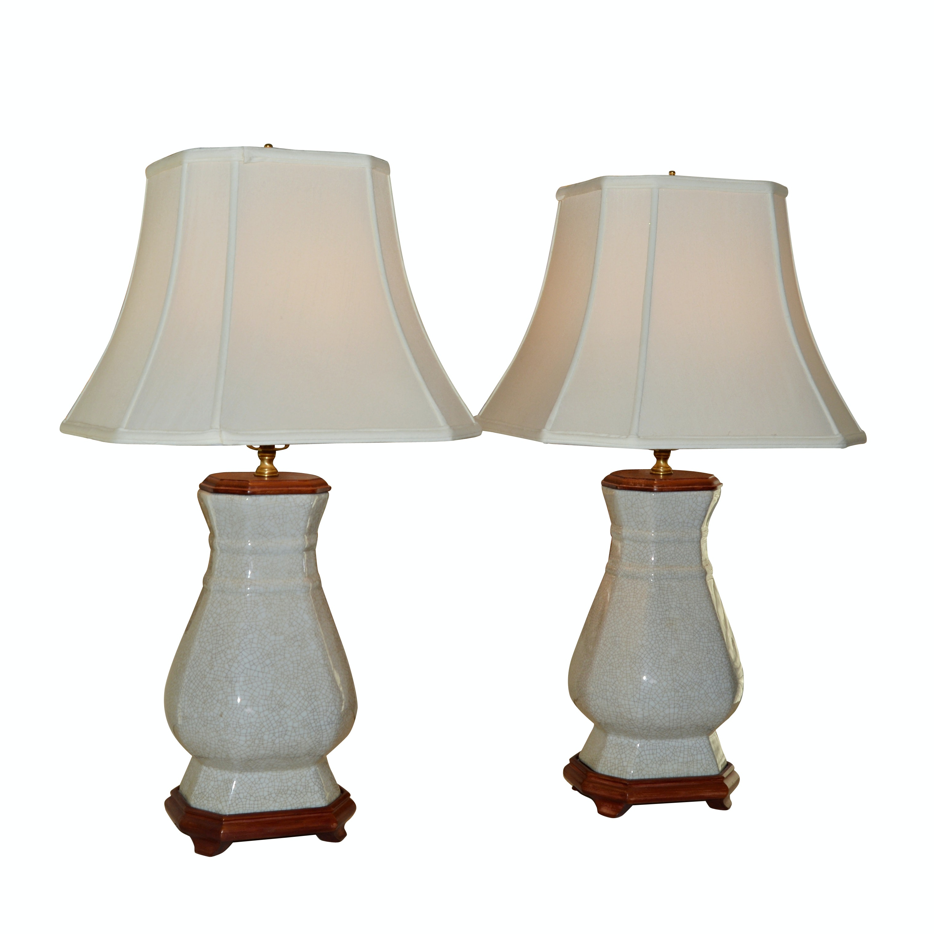 Pair of Crackle Finish Ceramic Table Lamps
