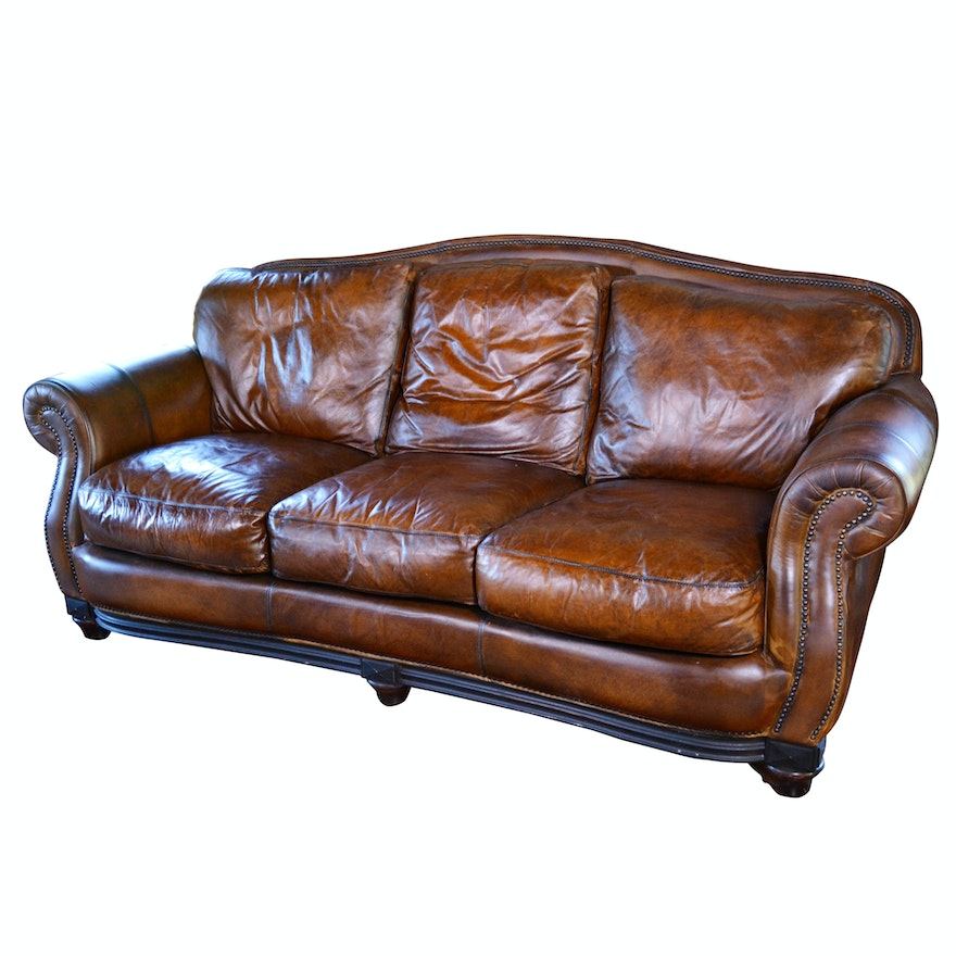 Contemporary Camelback Leather Sofa by Haverty\'s