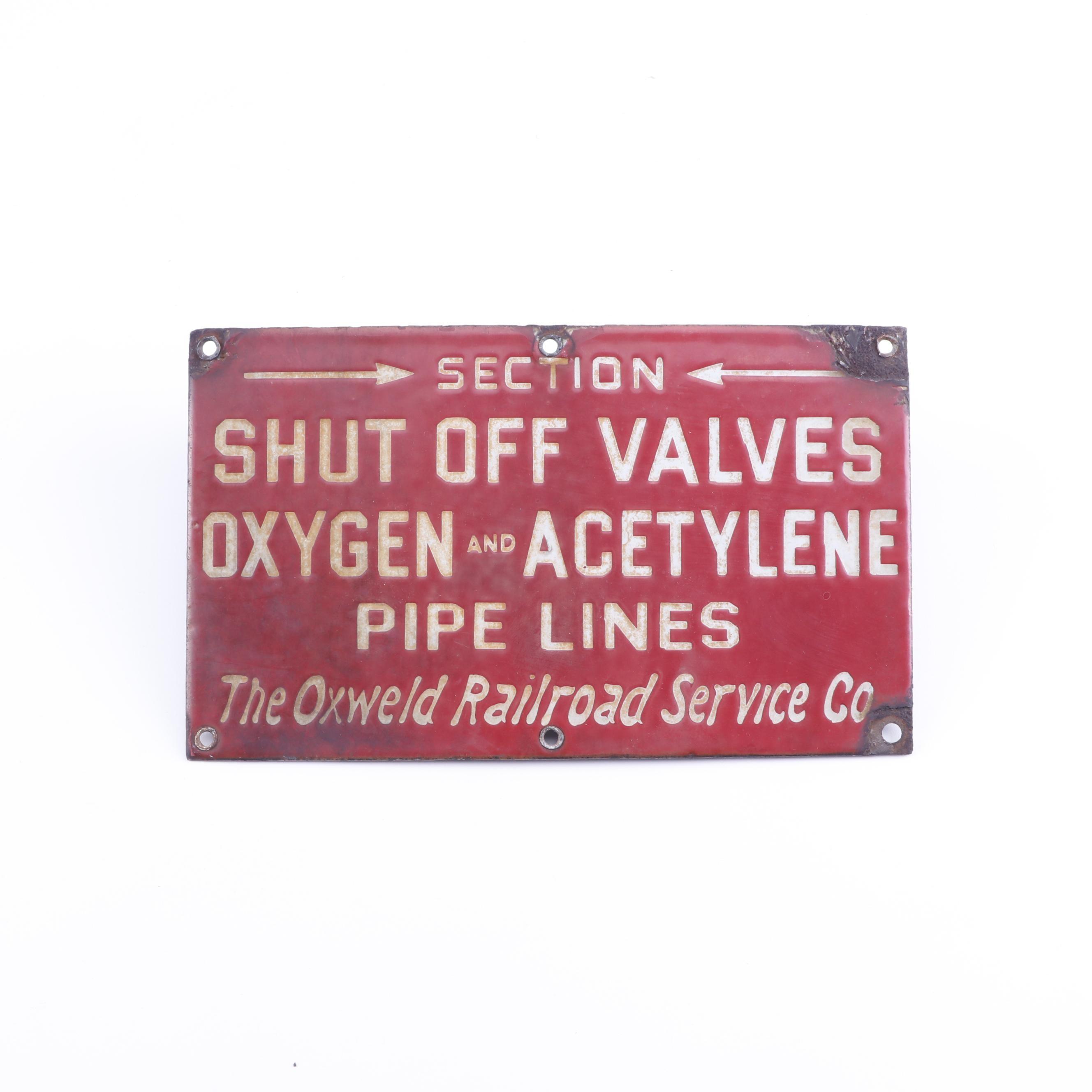 Oxweld Railroad Service Co. Porcelain Enamel Sign