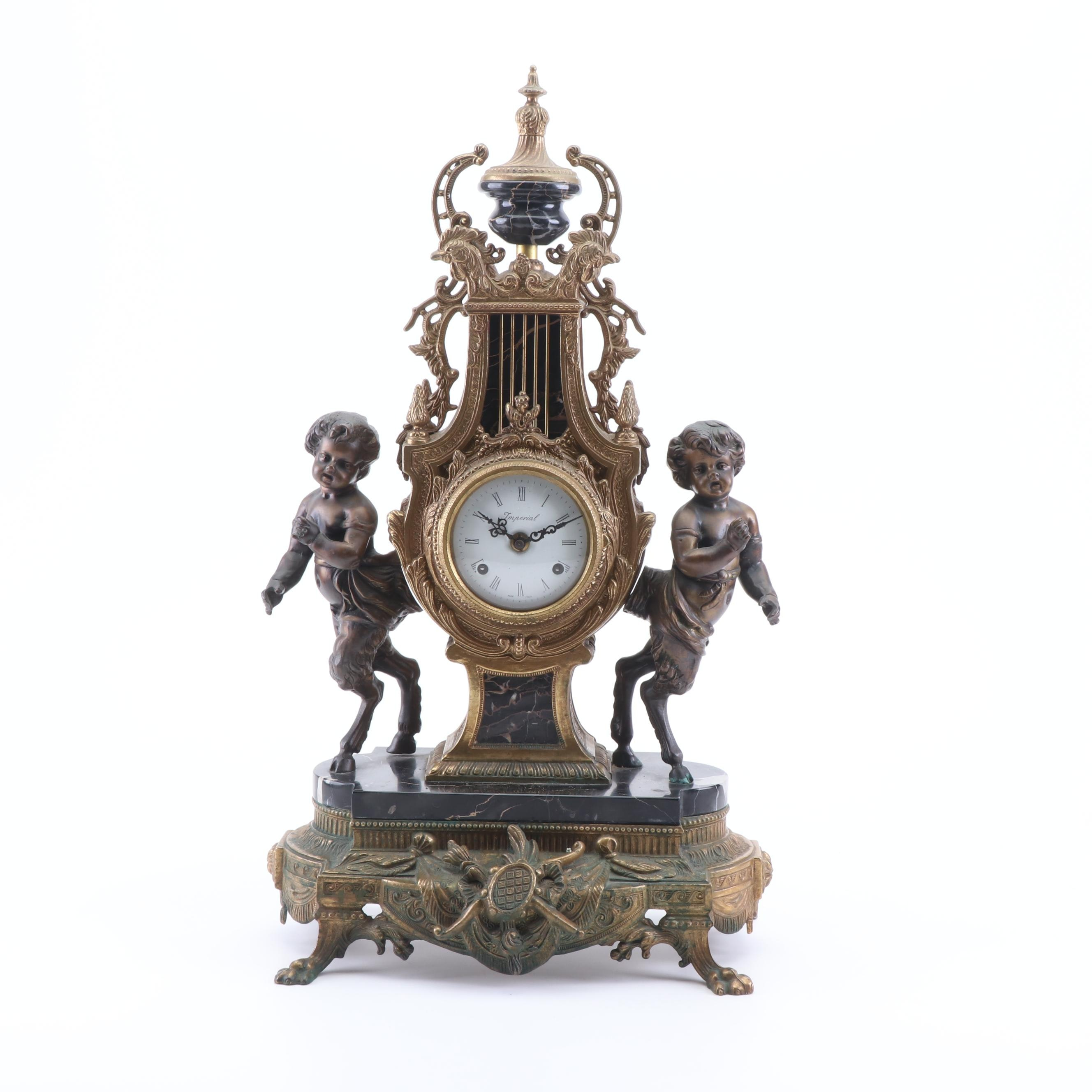 Imperial Italian Gilt Bronze and Marble Mantel Clock