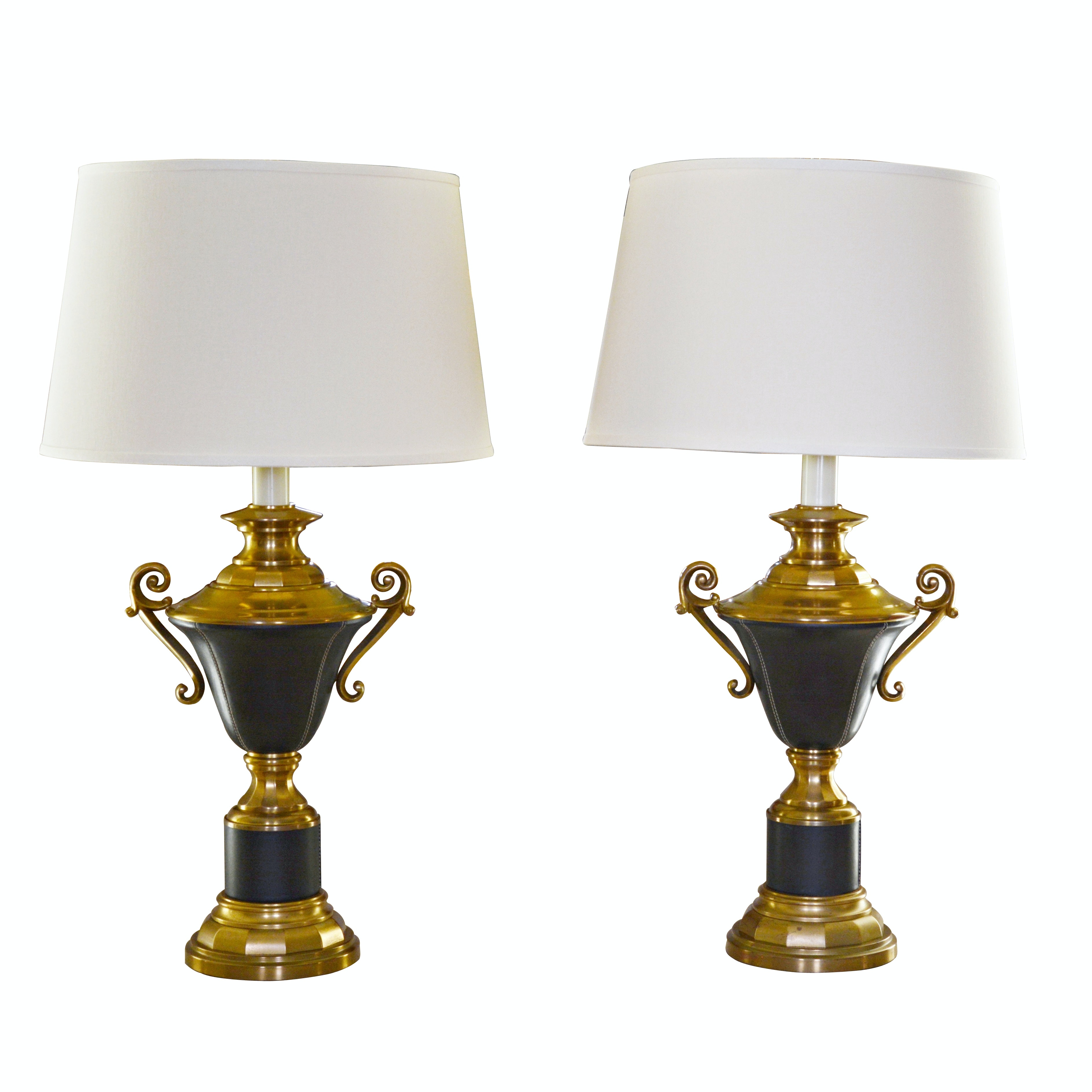 Pair of Brass and Leather Table Lamps