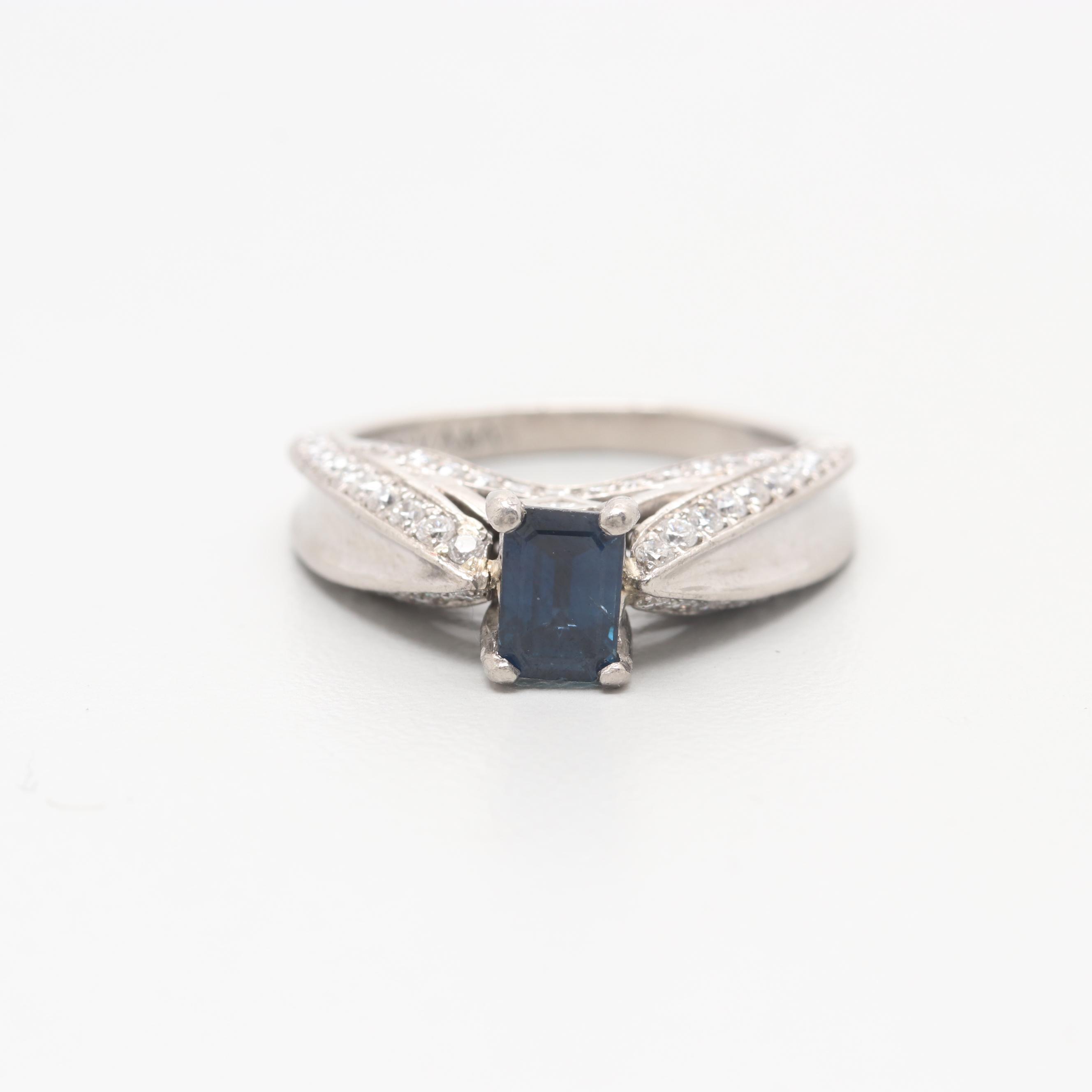 Palladium Sapphire and Diamond Ring