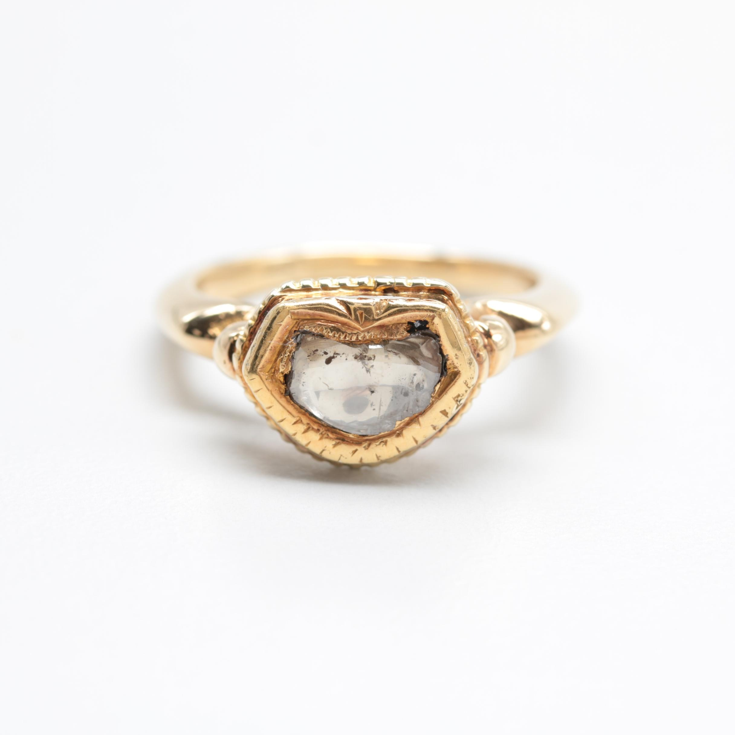 14K Yellow Gold Polki Diamond Solitaire Ring