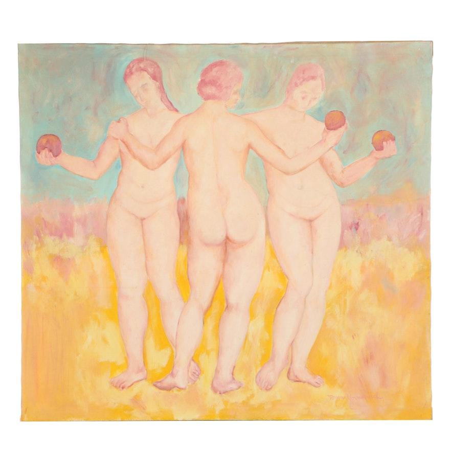 "Toma Yavanovich Oil Painting ""From the Three Graces"""