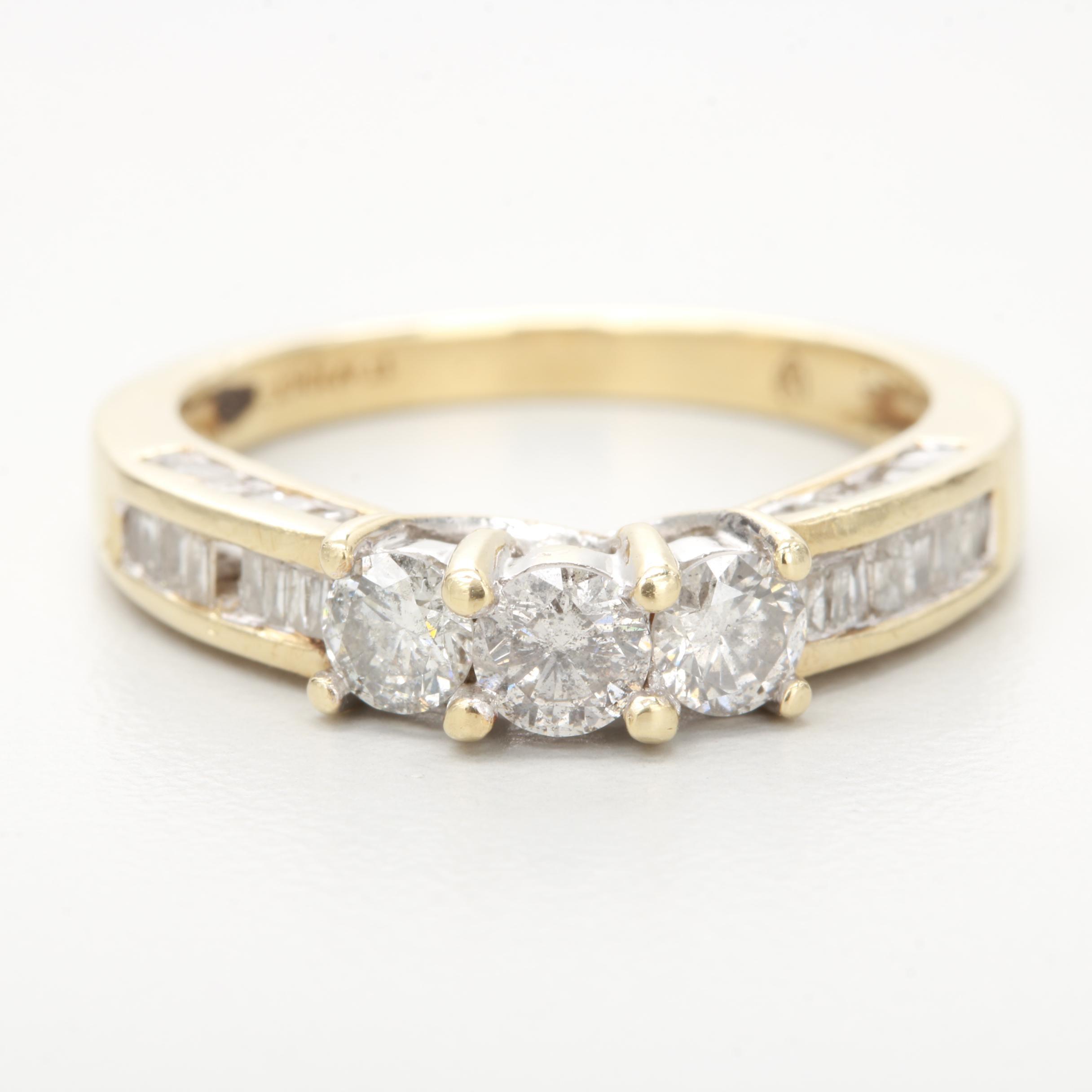 10K Yellow Gold 1.00 CTW Diamond Ring