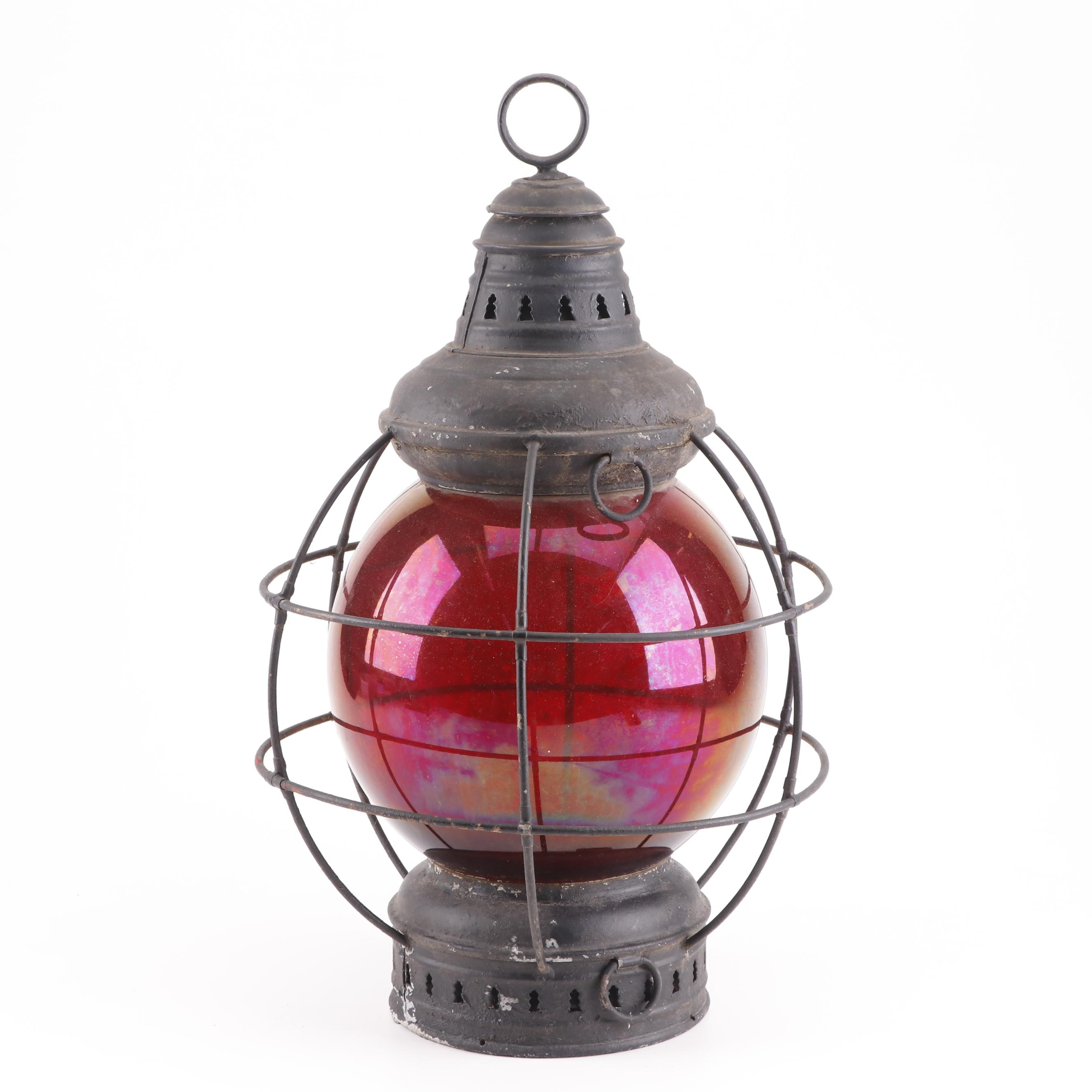 Vintage Metal Cage Rail Lantern with Commercial Grade Ruby Flashed Globe