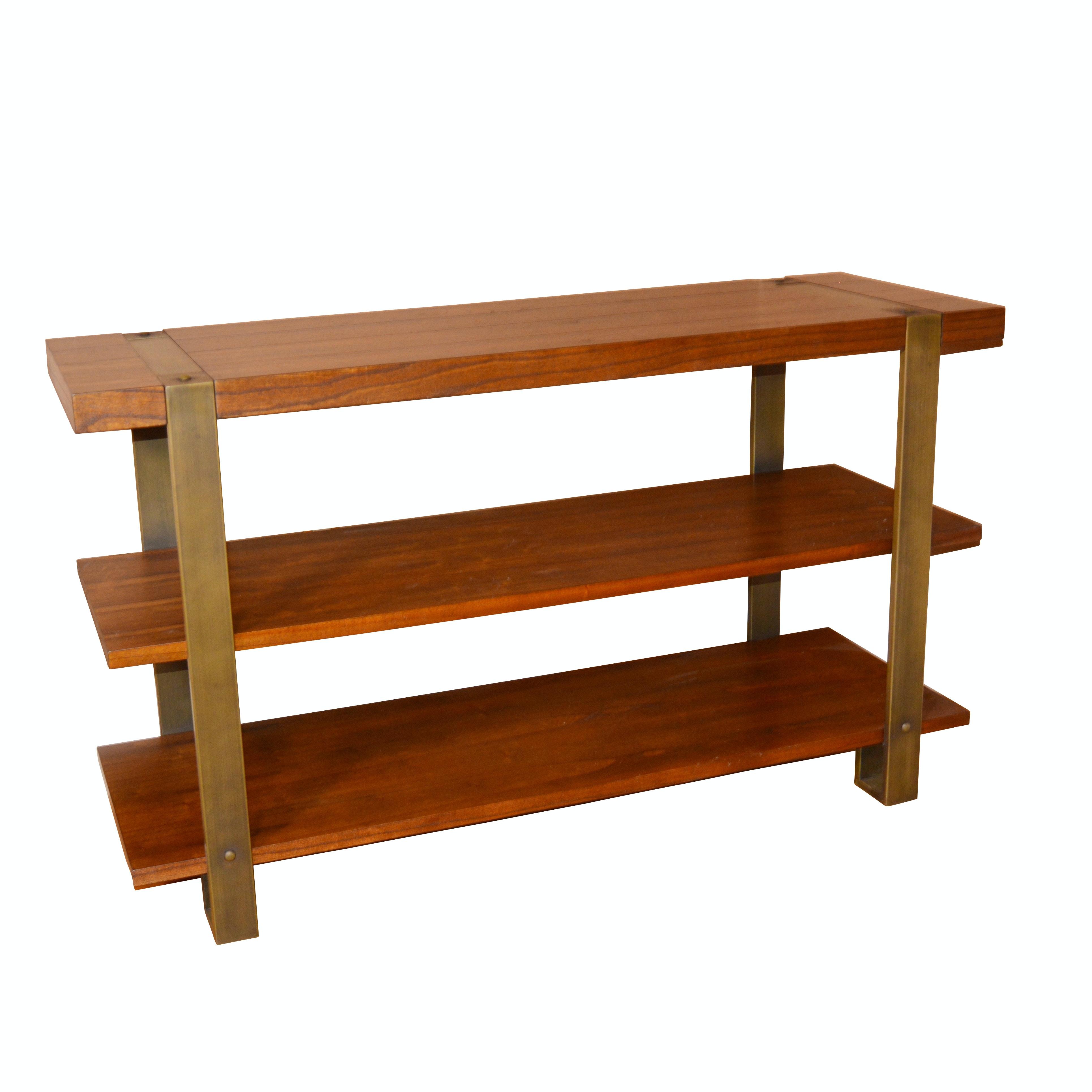 Contemporary Wood and Metal Media Shelf by Calmart International Ltd
