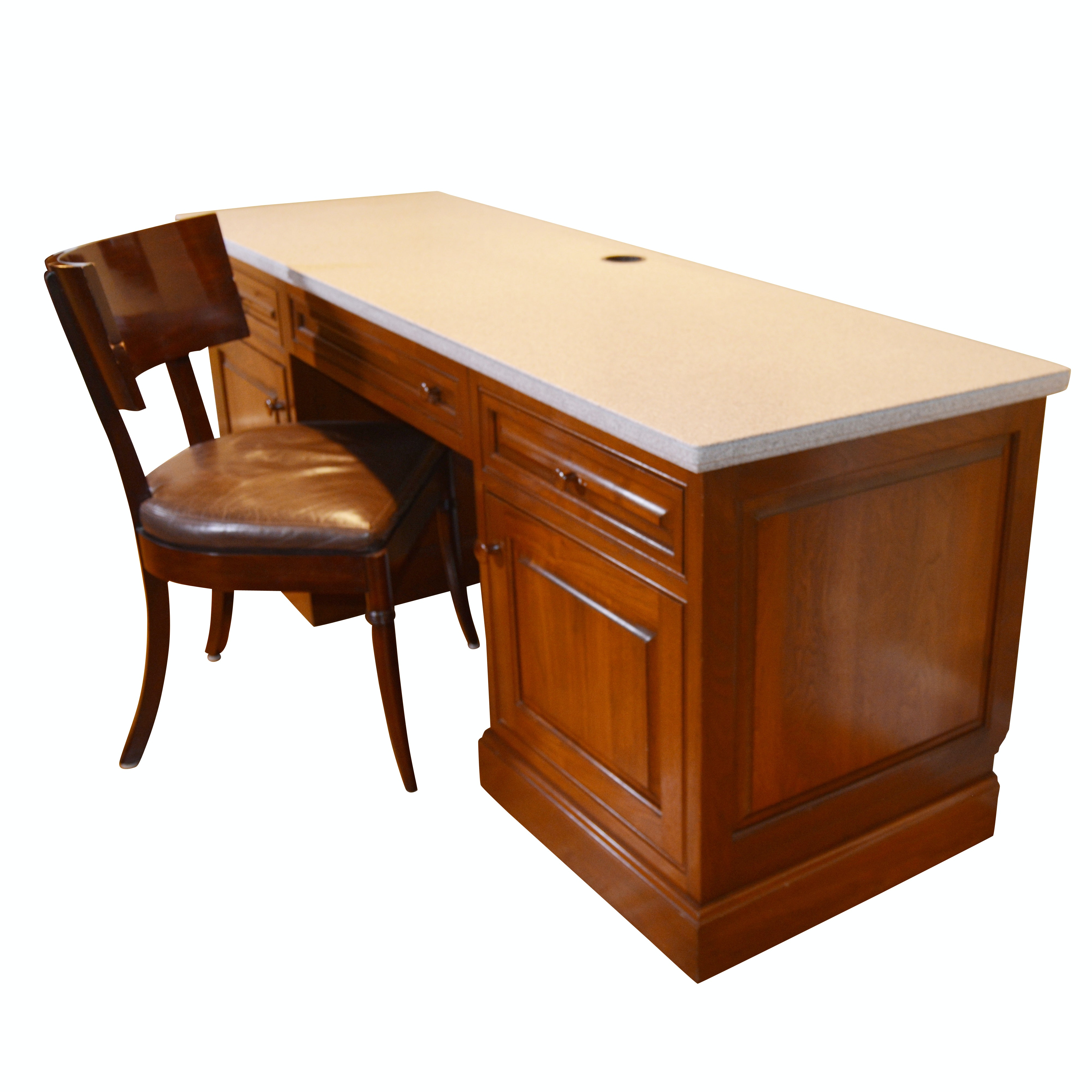 Contemporary Executive Desk and Leather Seat Chair by Williams Sonoma