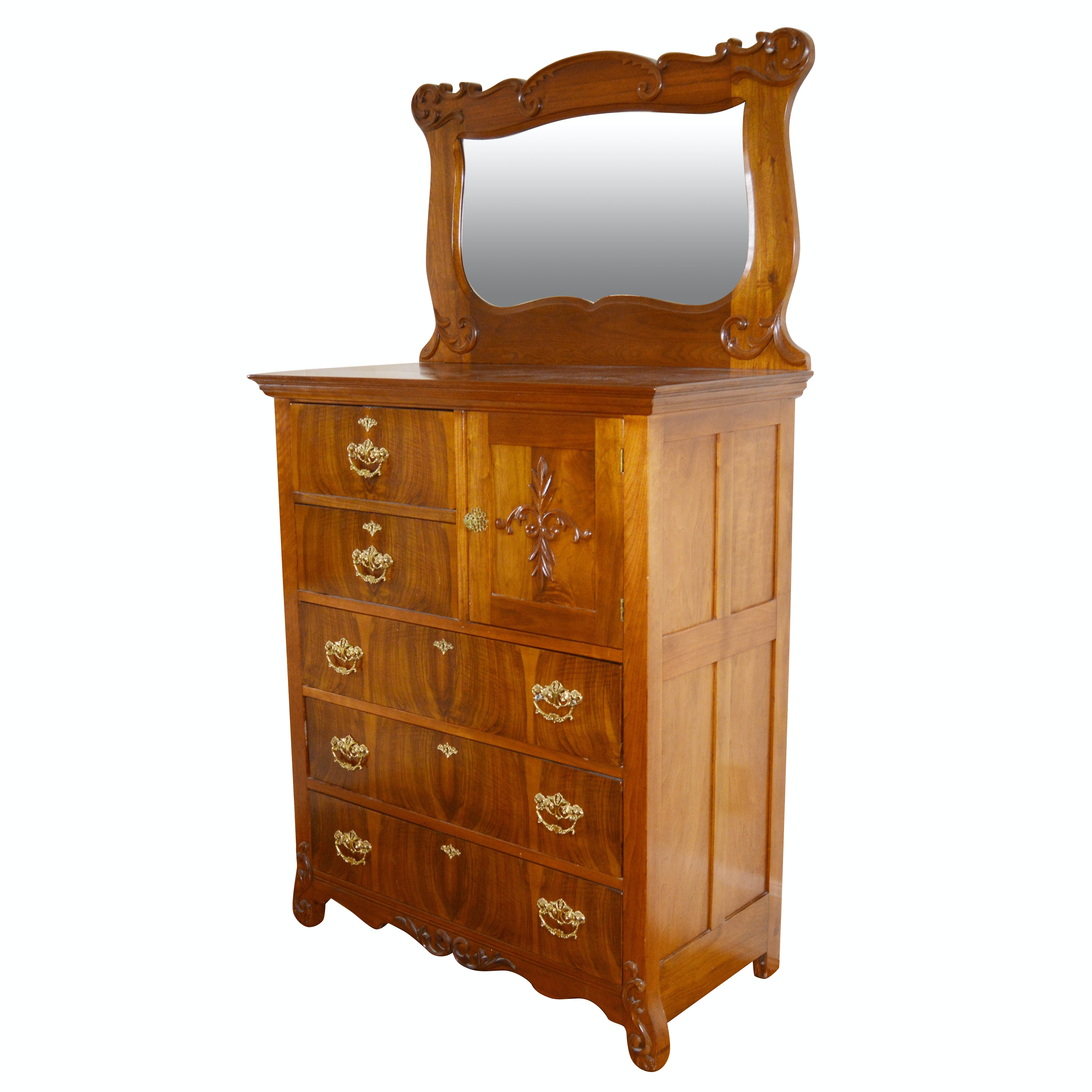Victorian Style Figured Cherry Chest of Drawers and Mirror, Mid-20th Century