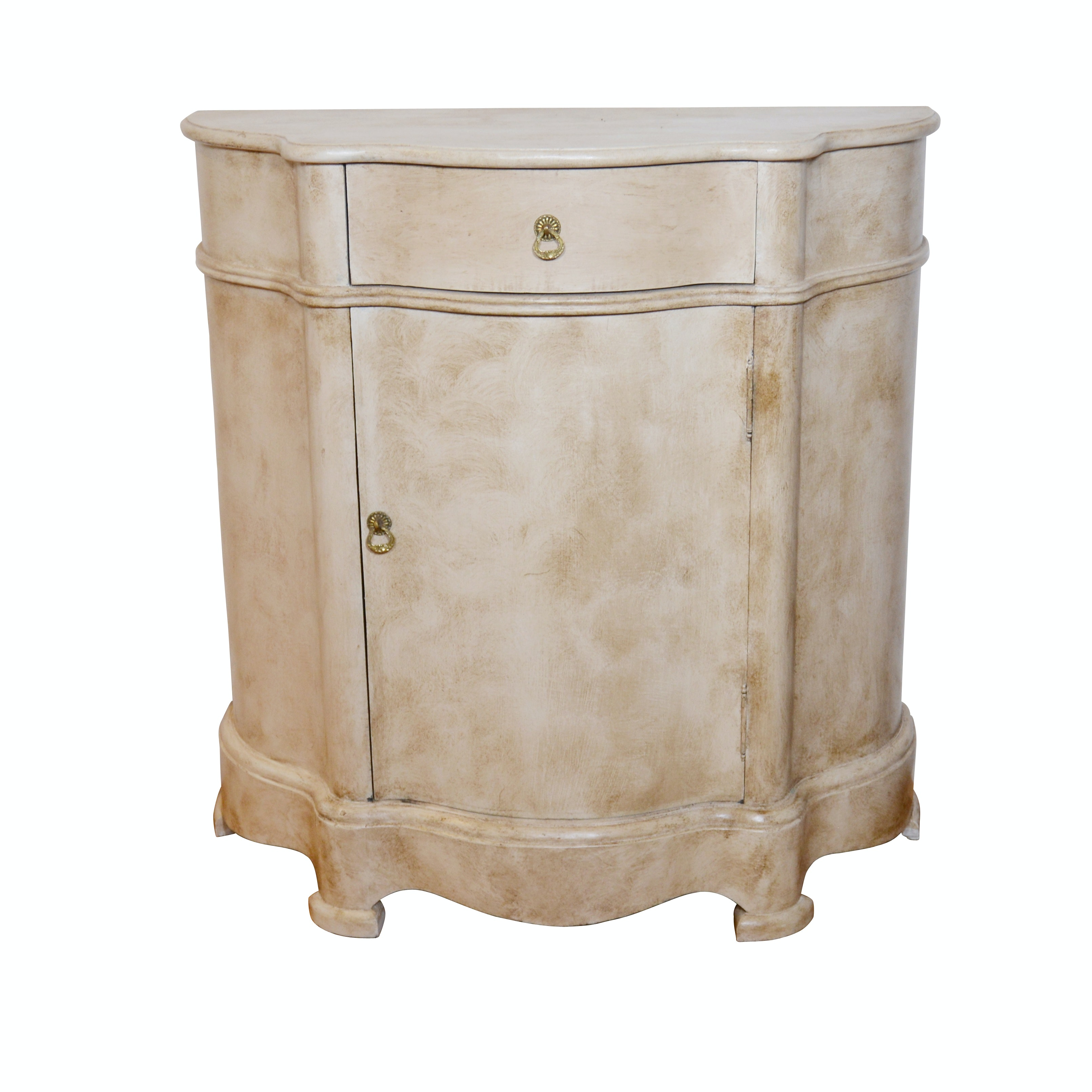 Contemporary Painted Demilune Accent Cabinet