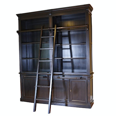 Contemporary Black Double Bookcase with Ladder by London - Online Furniture Auctions Vintage Furniture Auction Antique