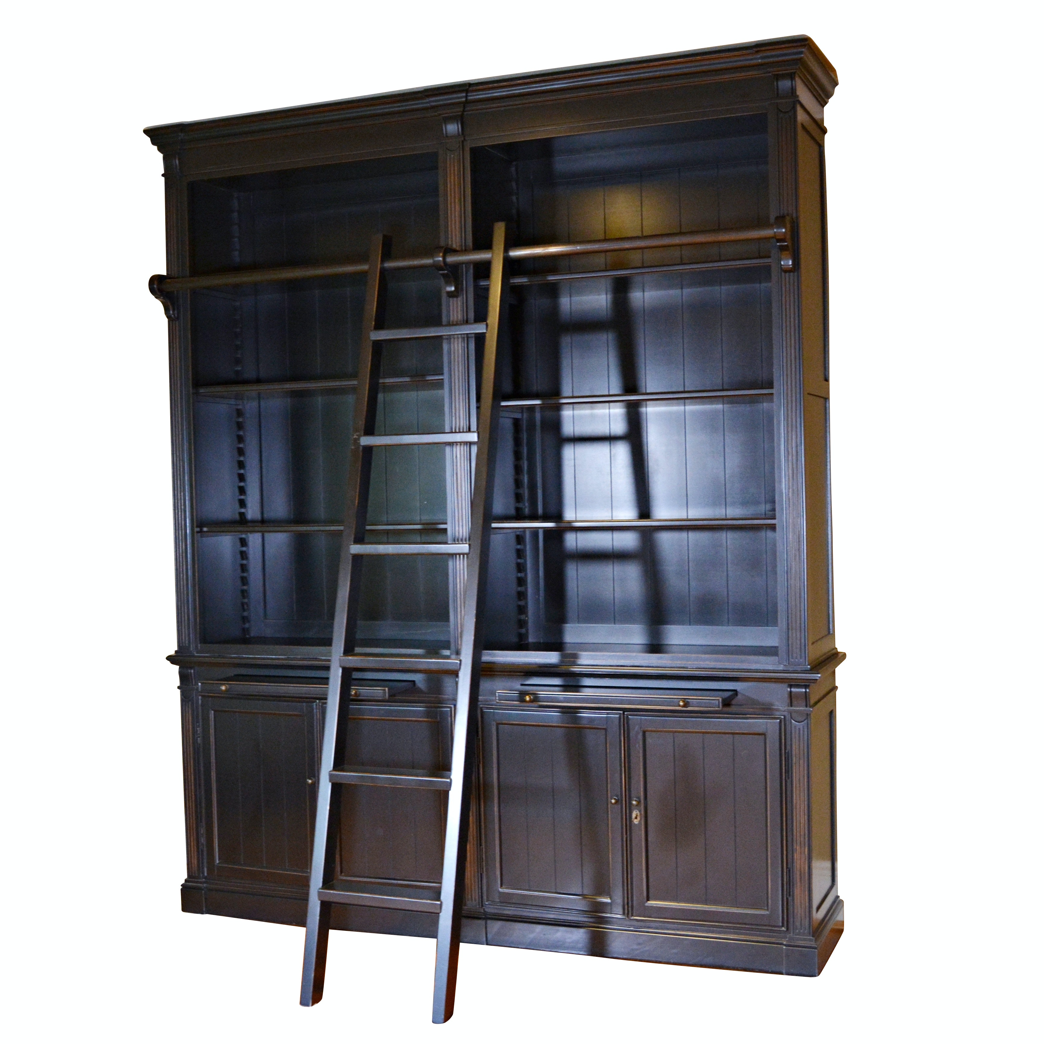 Contemporary Black Double Bookcase with Ladder by London
