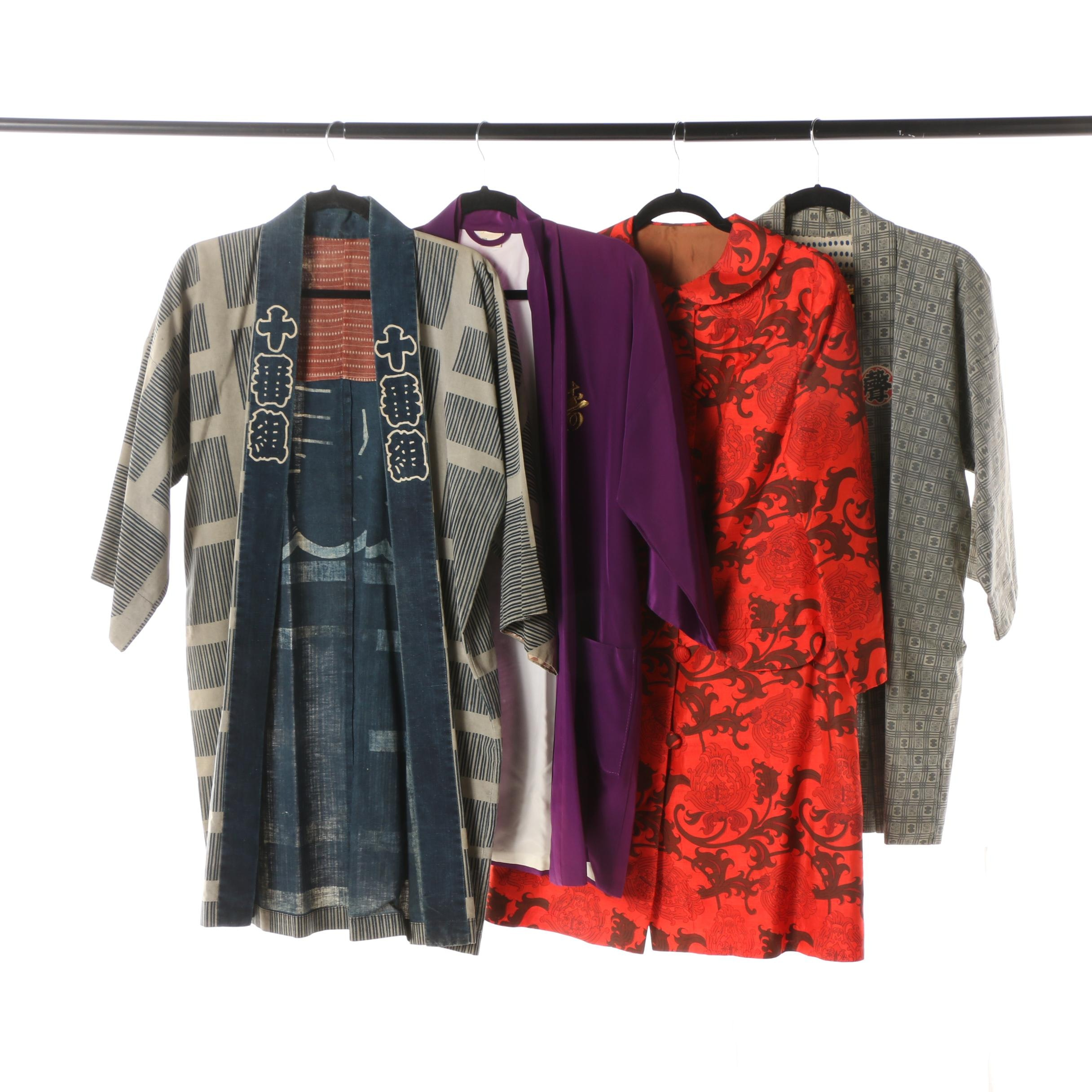 Japanese Cotton Happi Coats, Haori Style Jacket and Red Flowering Arabesque Coat