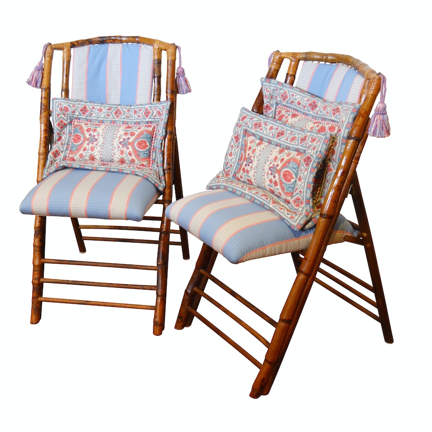 Campaign Style Bamboo Frame Upholstered Folding Chairs Late 20th Century Ebth