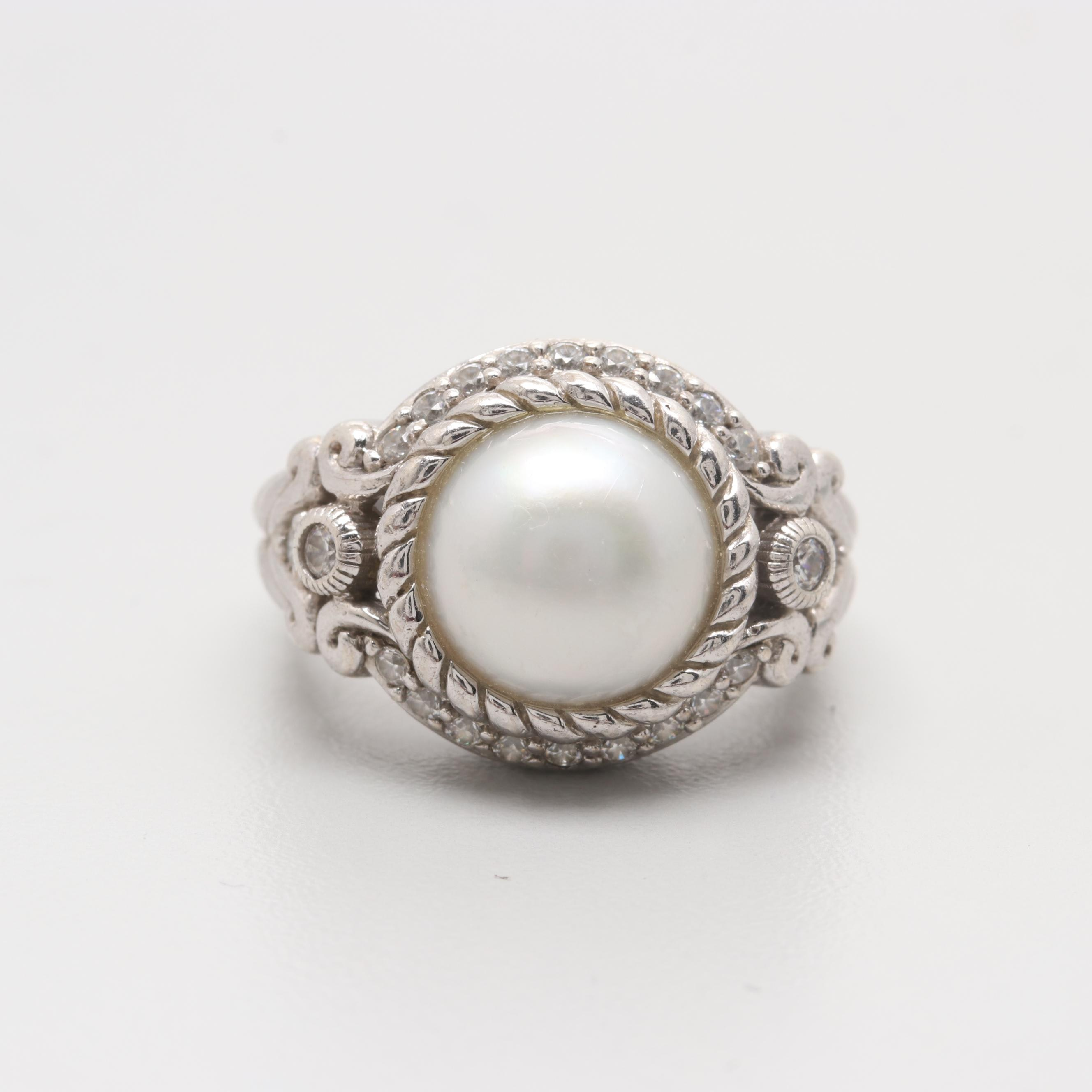 Judith Ripka Sterling Silver Cultured Mabe Pearl and Cubic Zirconia Ring