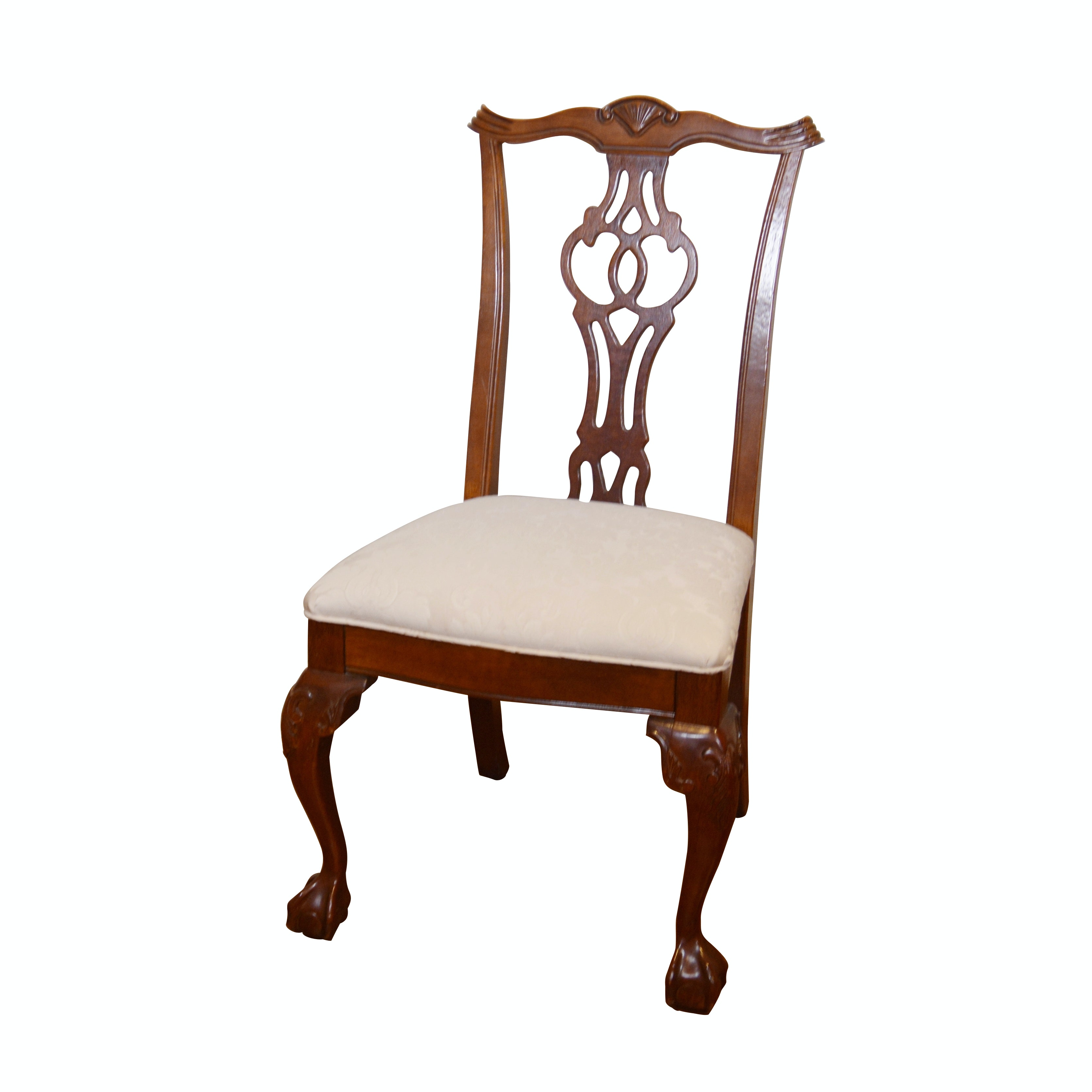 Vintage Chippendale Style Wood Side Chair
