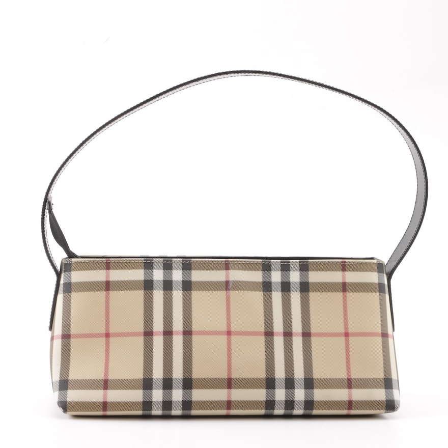 "04f7dcee94b9 Burberry ""House Check"" Coated Canvas Shoulder Bag   EBTH"