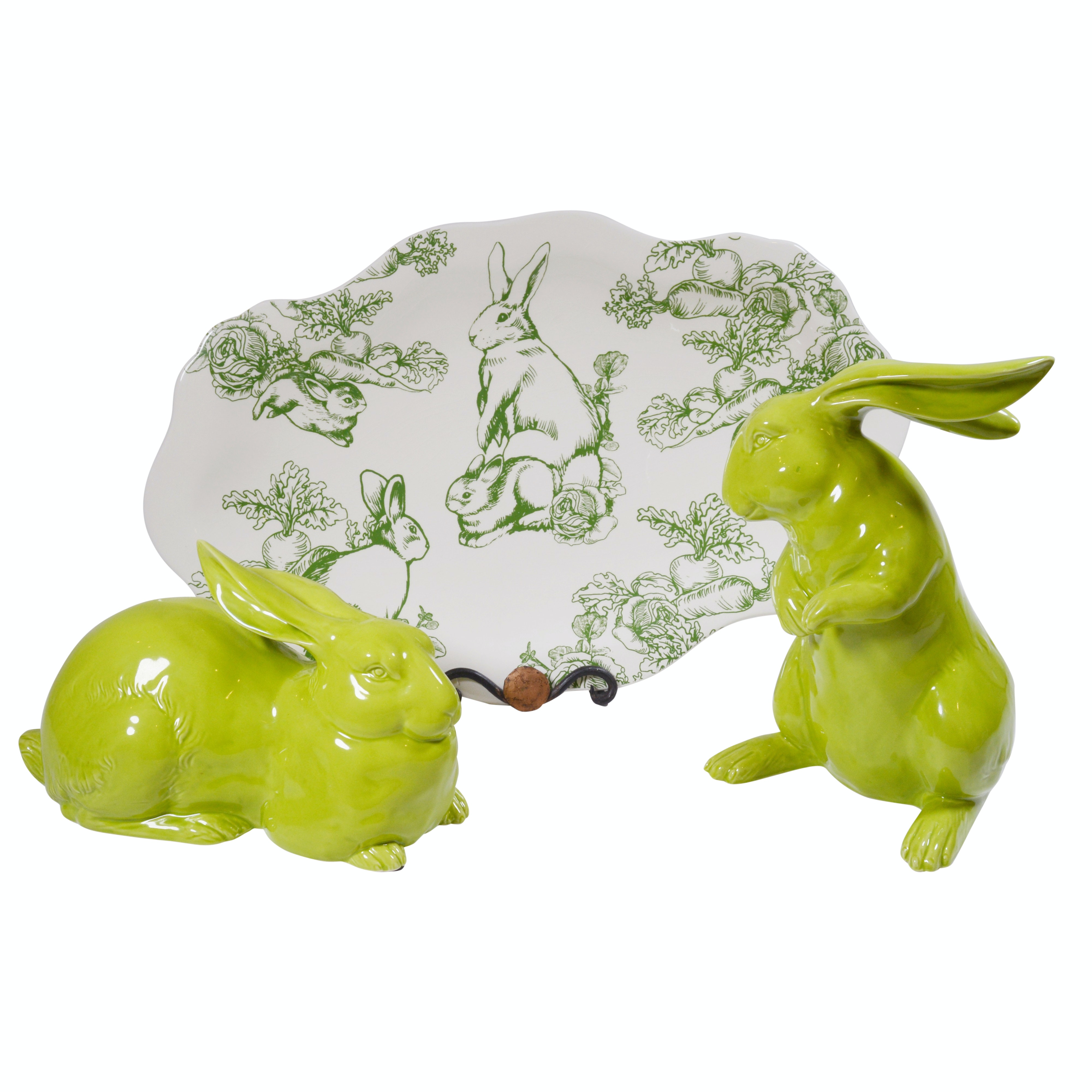 """J. Willfred """"Bunny Toile"""" Platter and Porcelain Bunny Figurines"""