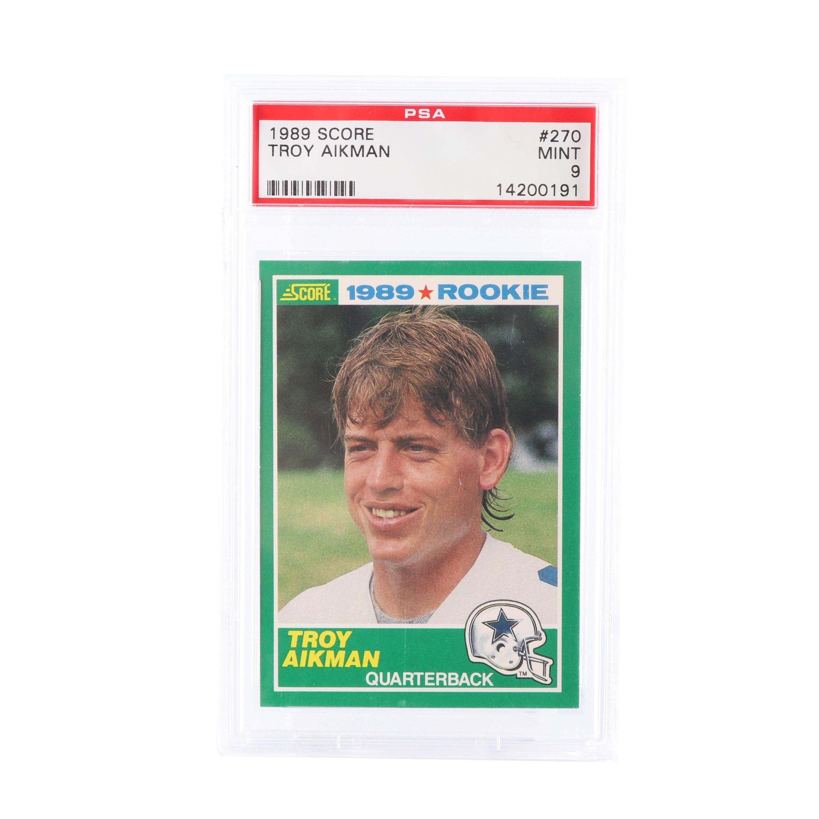 Troy Aikman 1989 Score #270 Rookie Card PSA Graded Mint 9