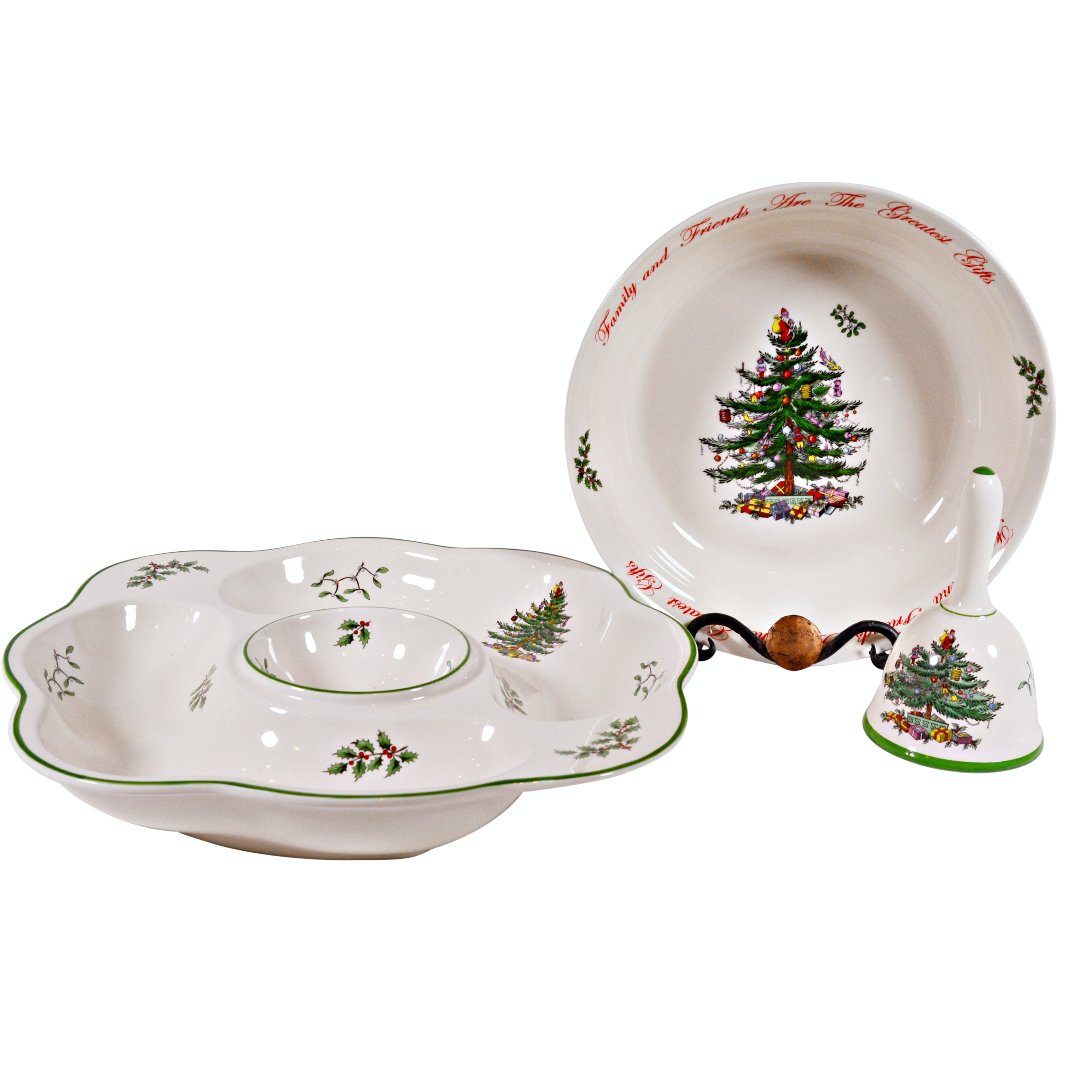 "Spode ""Christmas Tree"" Earthenware Serving Dishes and Dinner Bell"