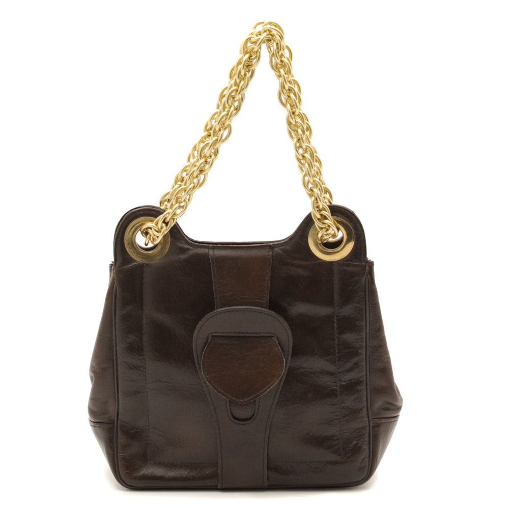 Vintage Brown Leather Handbag with Gold Tone Chain