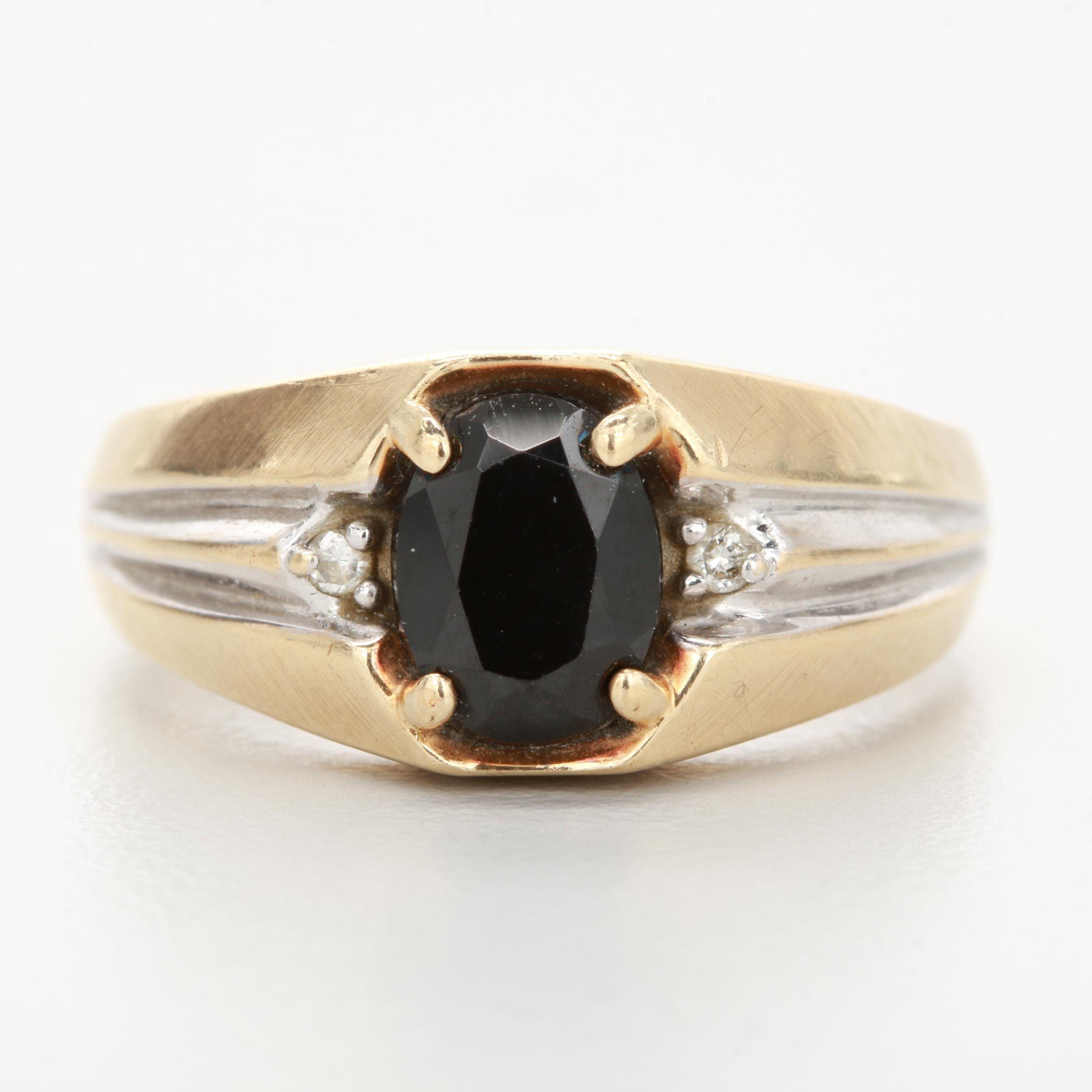 10K Yellow Gold and Black Cubic Zirconia and Diamond Ring