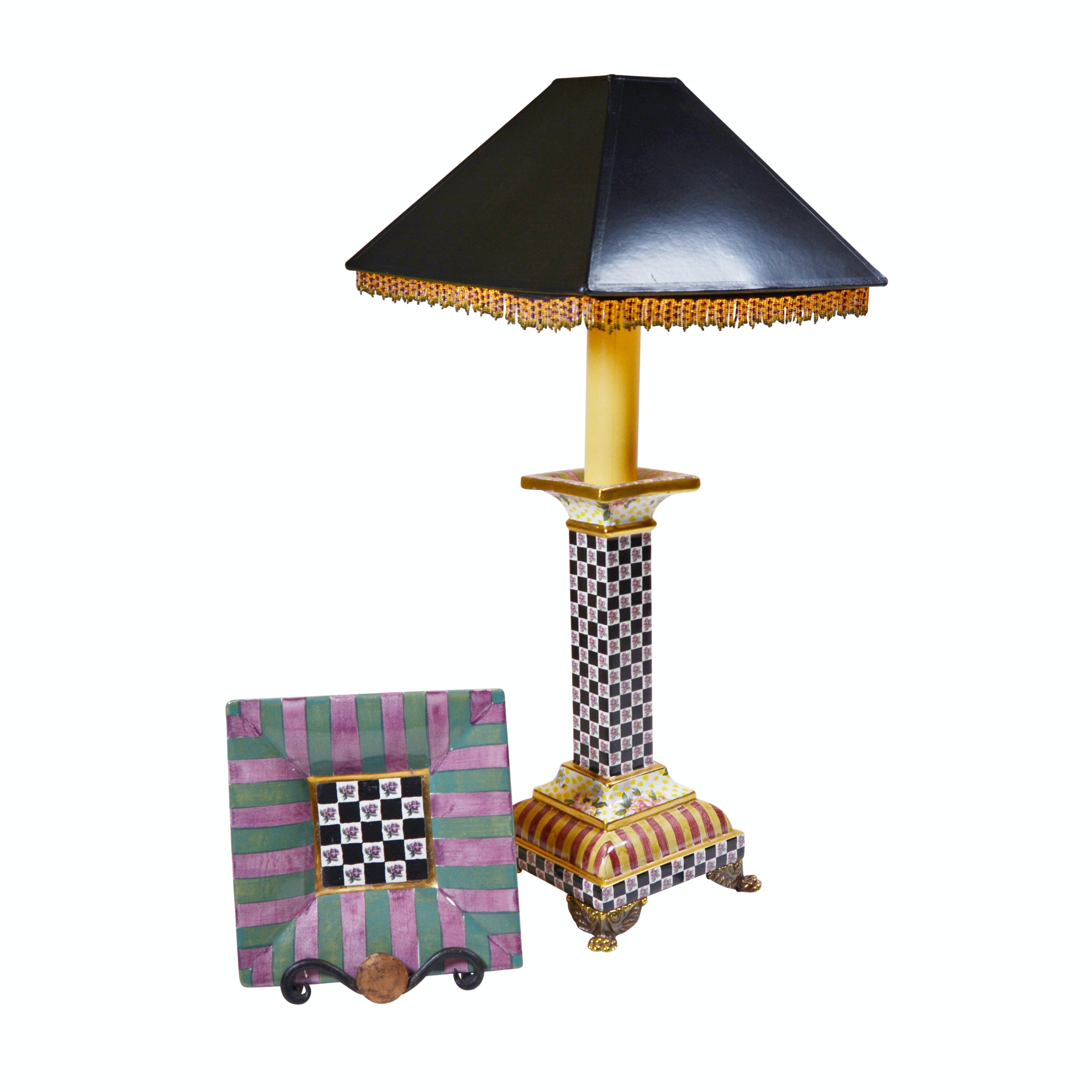 MacKenzie-Childs Torquay Table Lamp and Plate