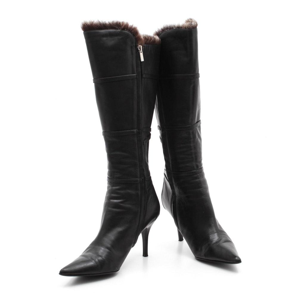 Sacha London Black Leather Tall Boots with Rabbit Fur Trim