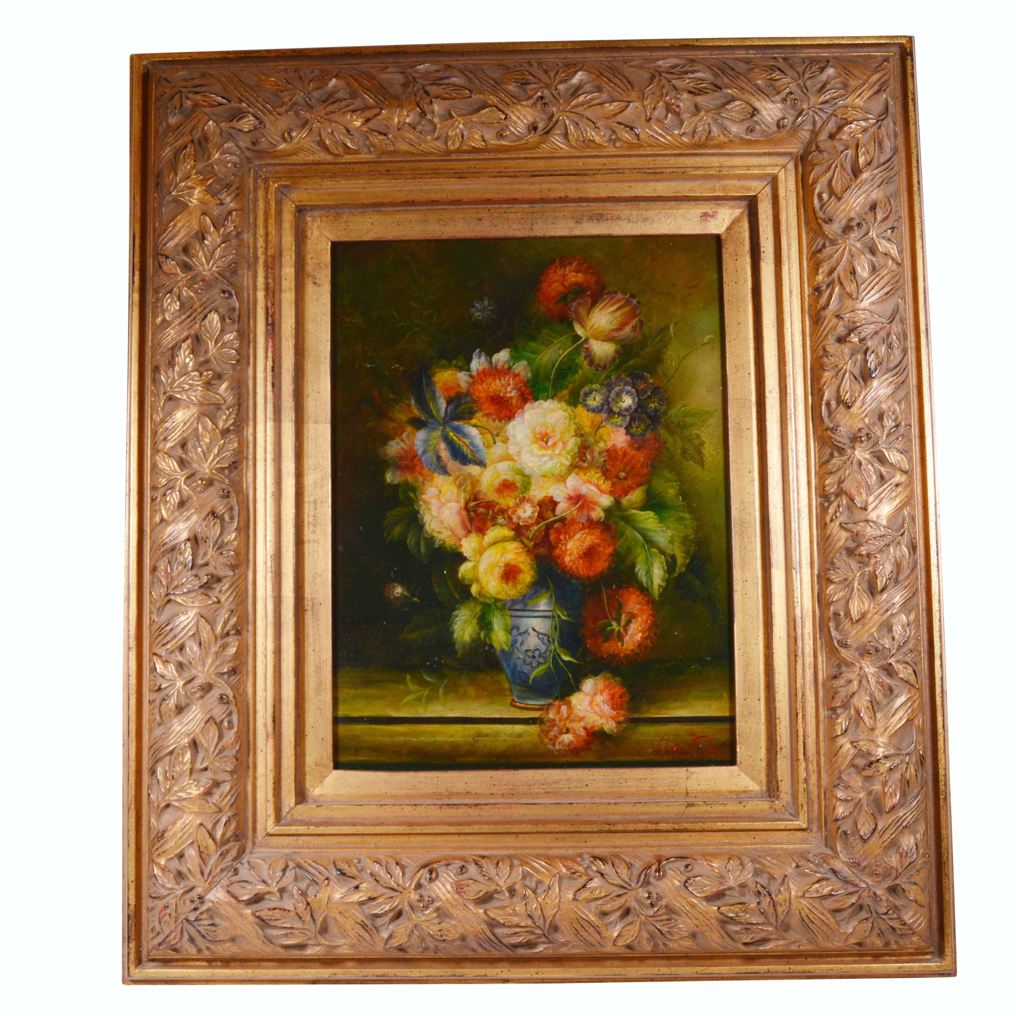 Antonio Dorisi Oil Painting of Floral Still Life