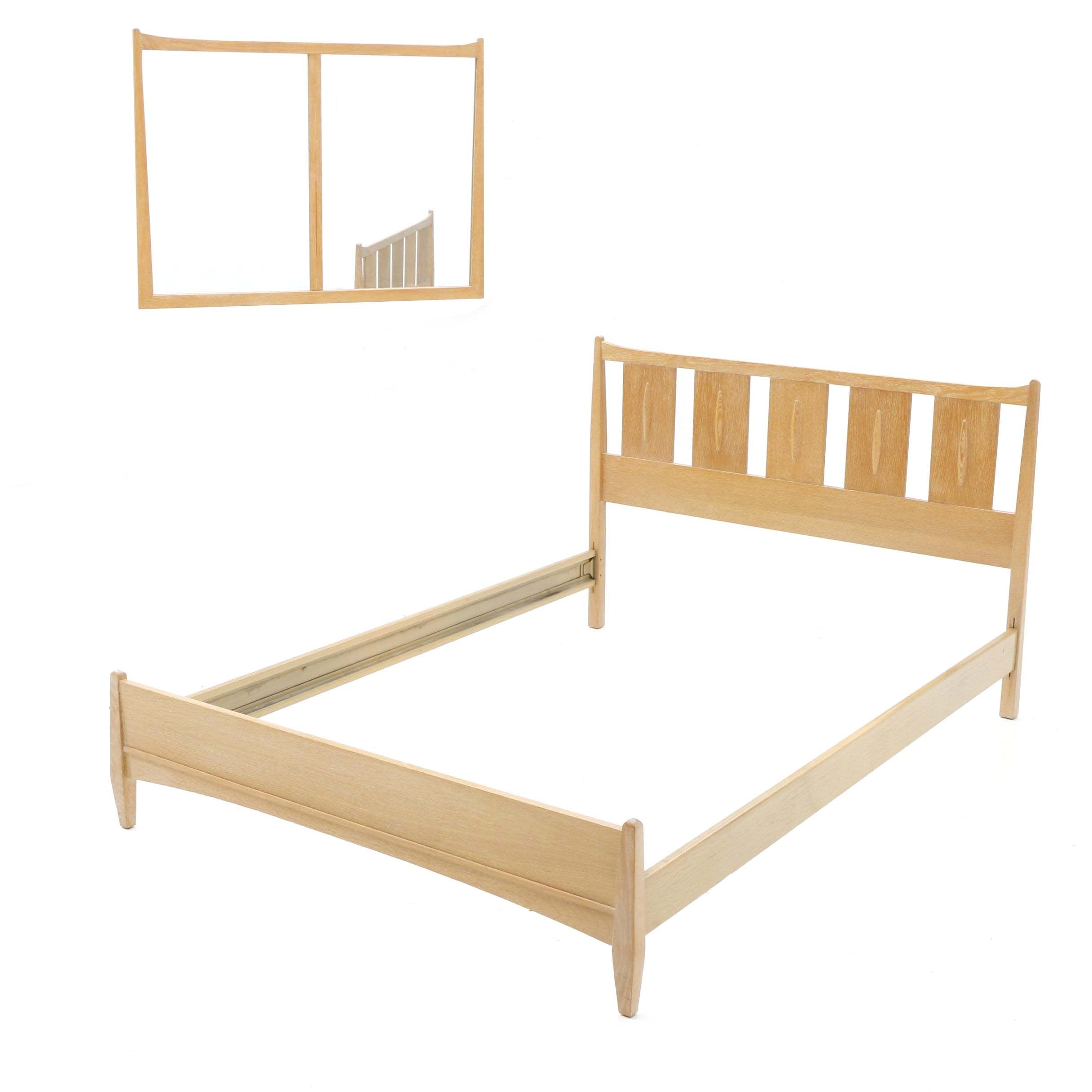 Mid Century Modern Limed Oak Full Size Bed Frame and Wall Mirror