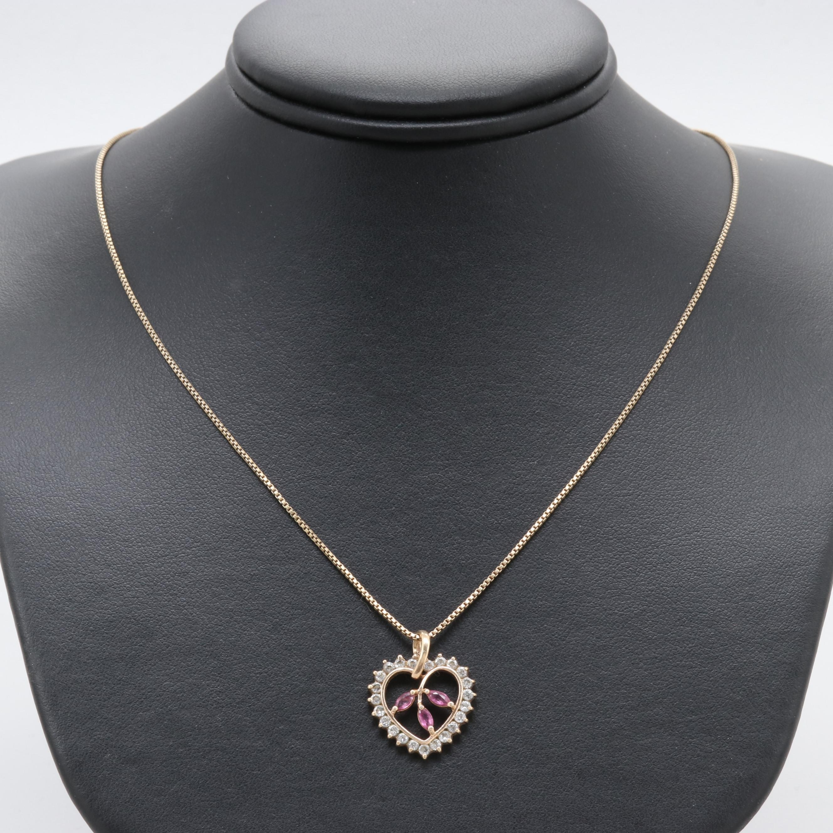 Gold Wash on Sterling Silver Ruby and Cubic Zirconia Heart Necklace