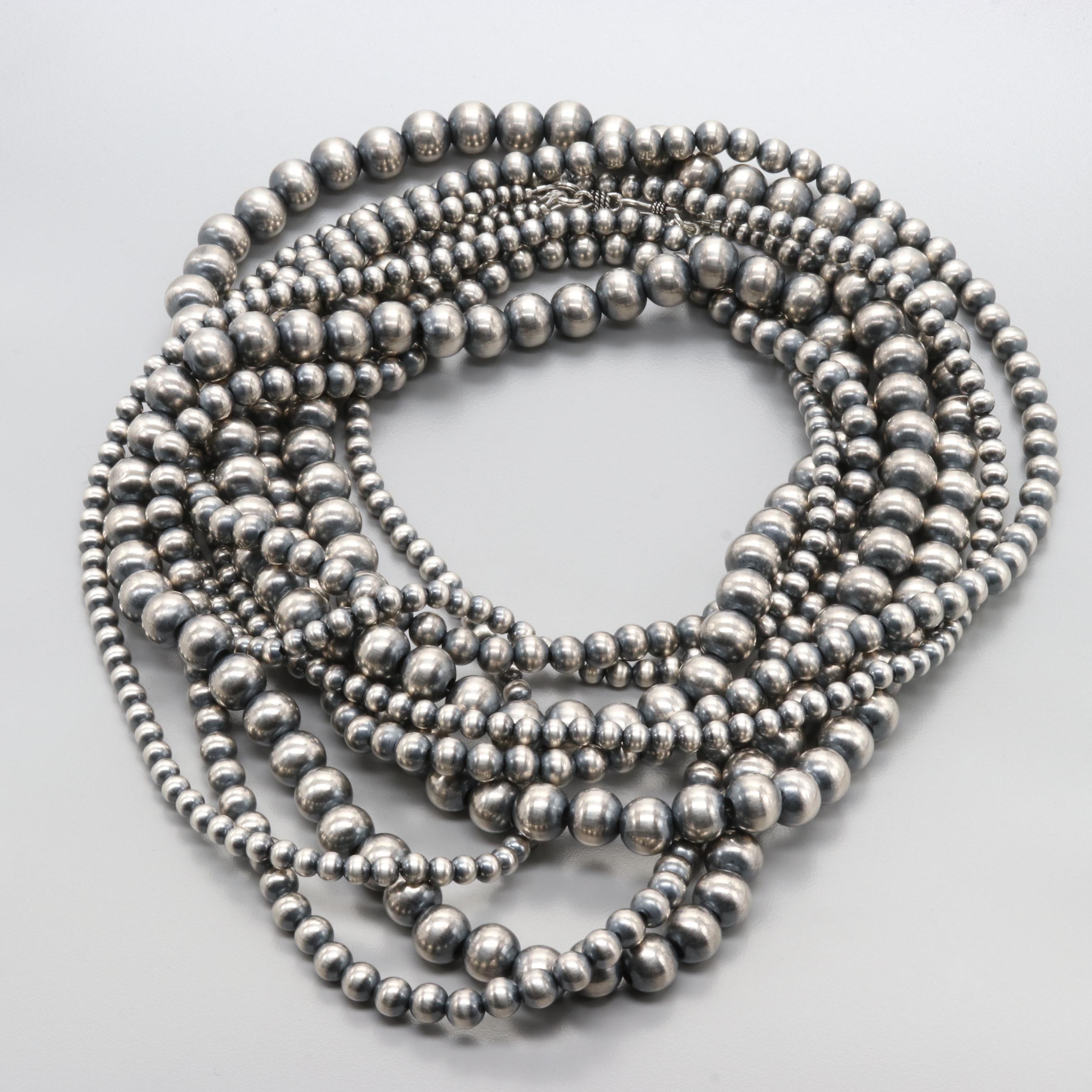 Southwest Style Sterling Silver Graduated Bead Necklace