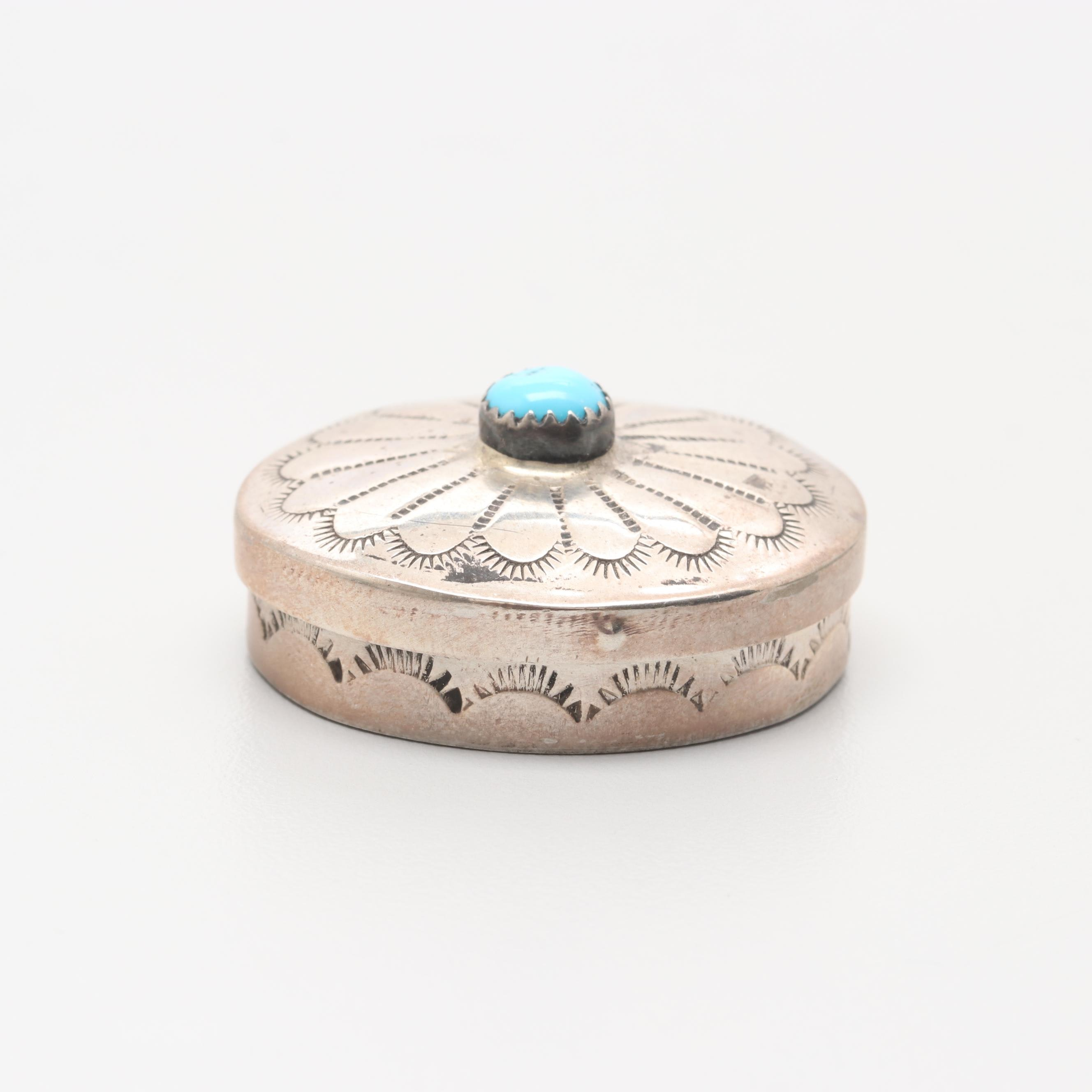 Southwest Style Sterling Silver Turquoise Box