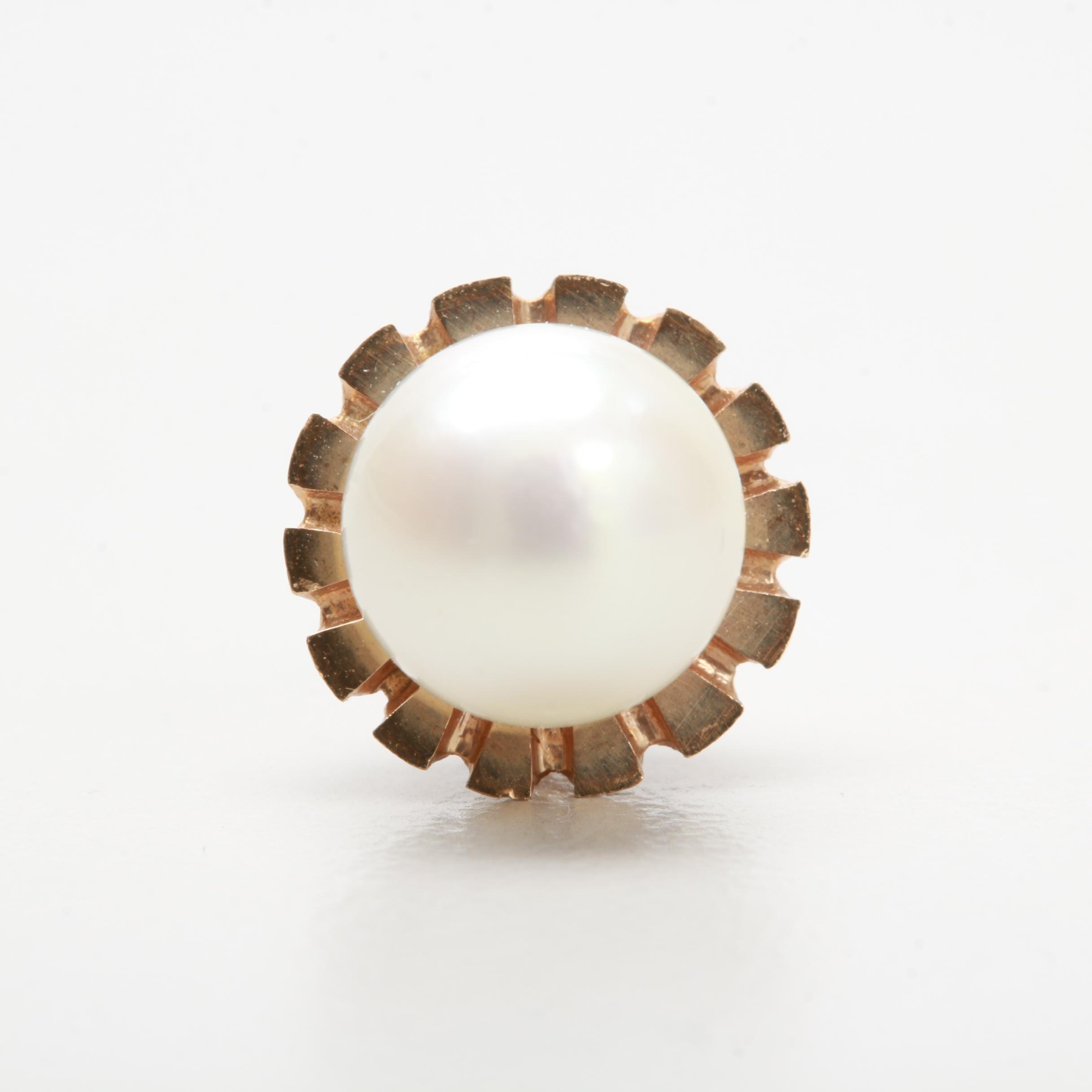 14K Yellow Gold Cultured Pearl Tie Tack
