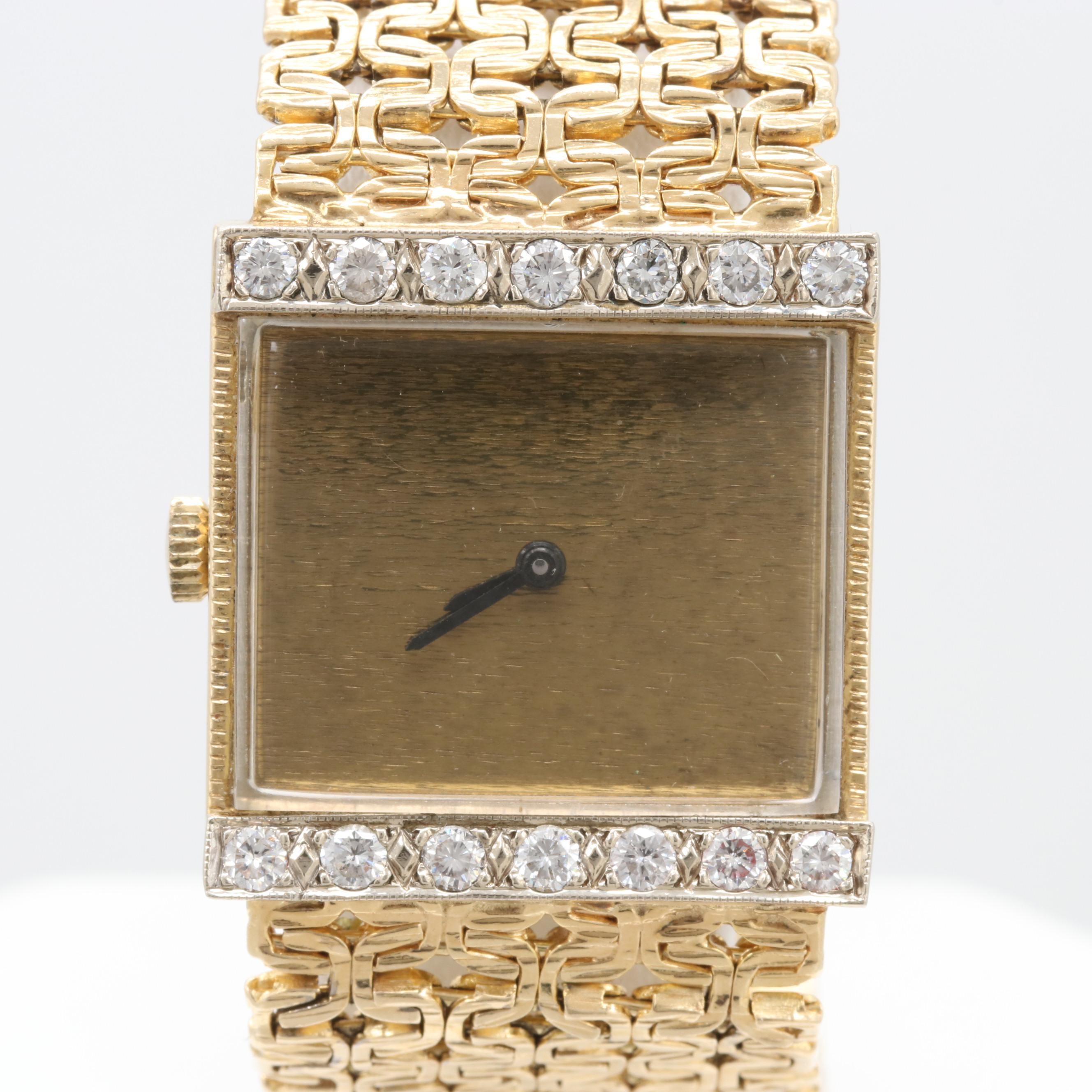 14K Yellow Gold Stem Wind Mathey-Tissot Wristwatch With Diamond Bezel