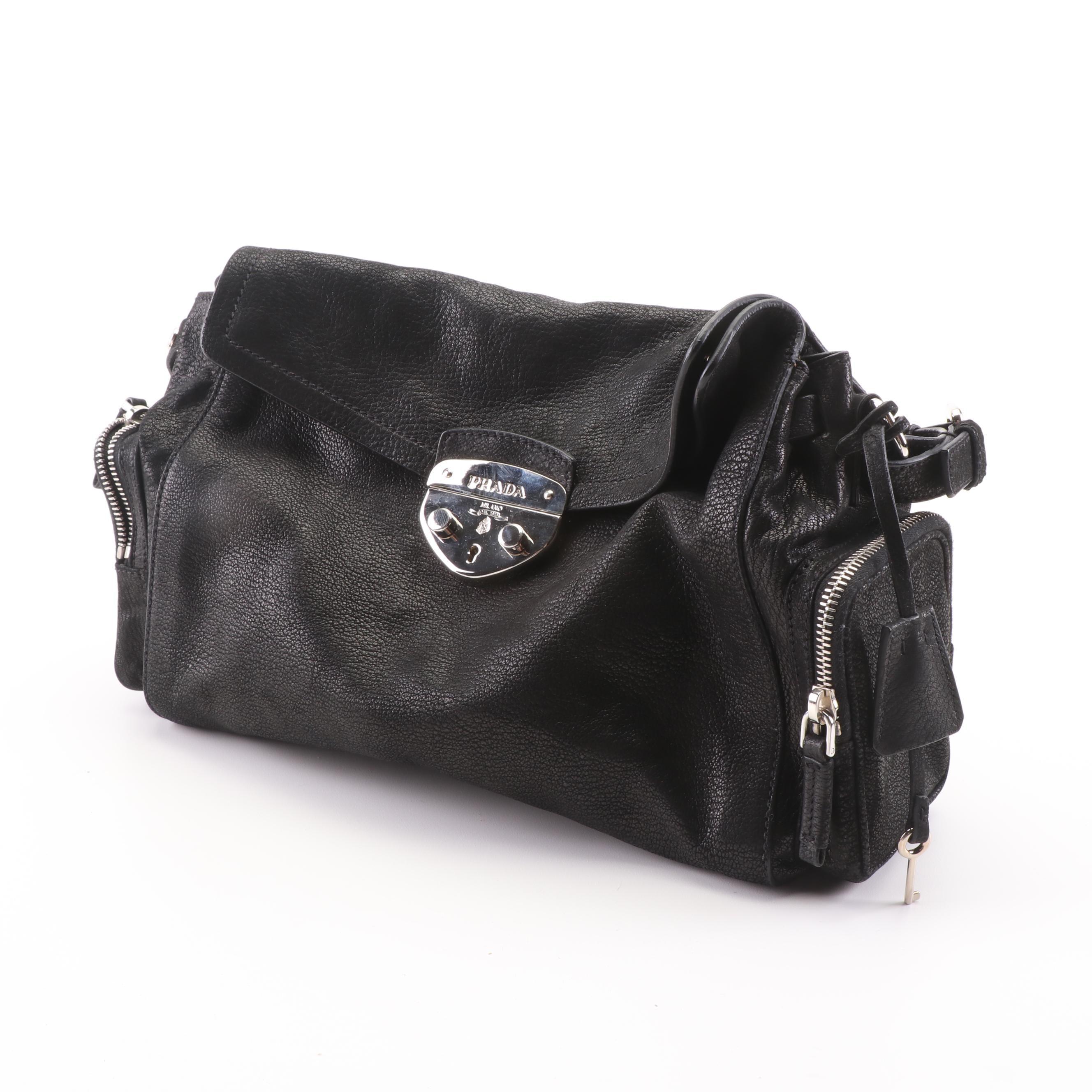 Prada Antic Easy A Pattina Black Leather Shoulder Bag