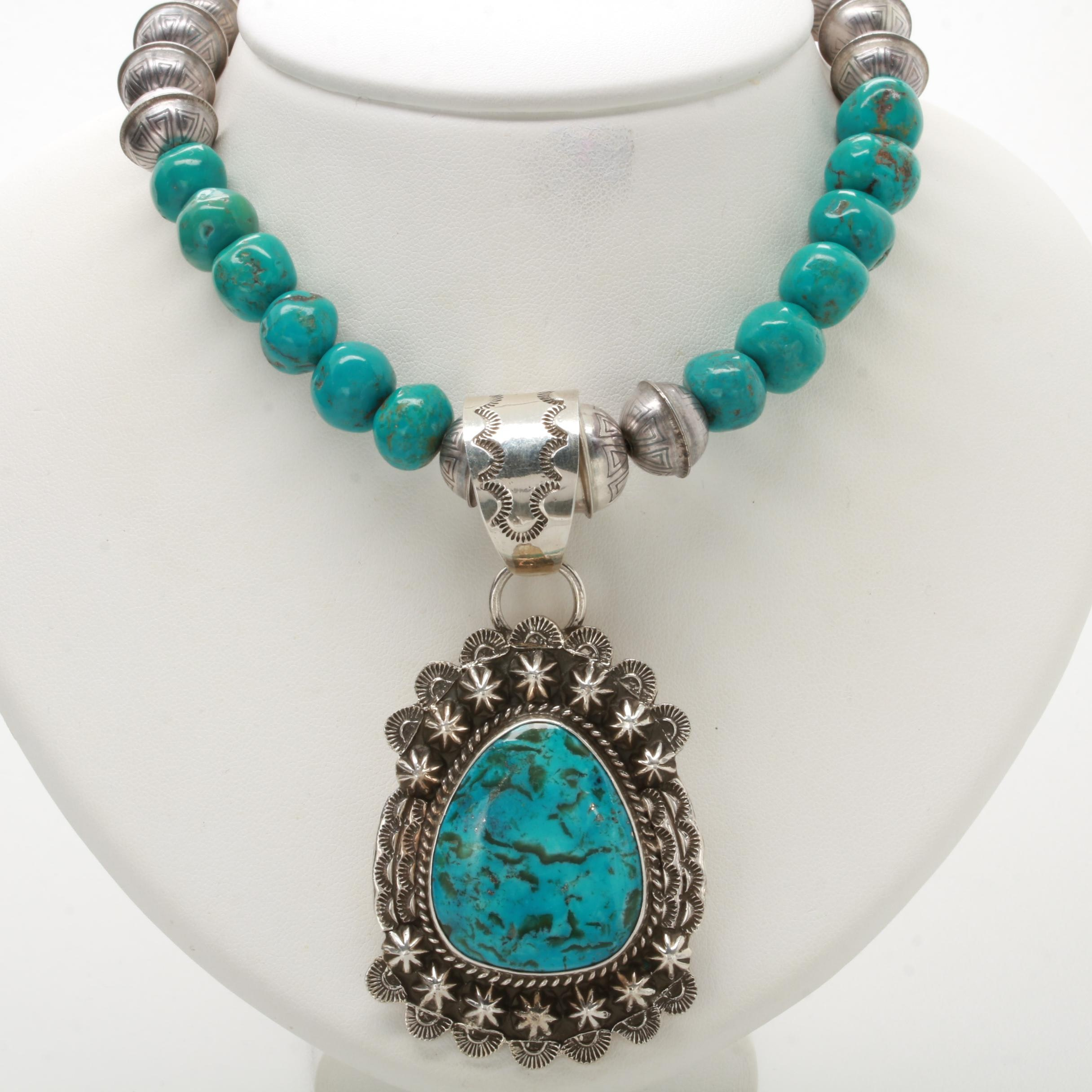 Southwest Style Sterling Silver Turquoise and Reconstituted Turquiose Necklace